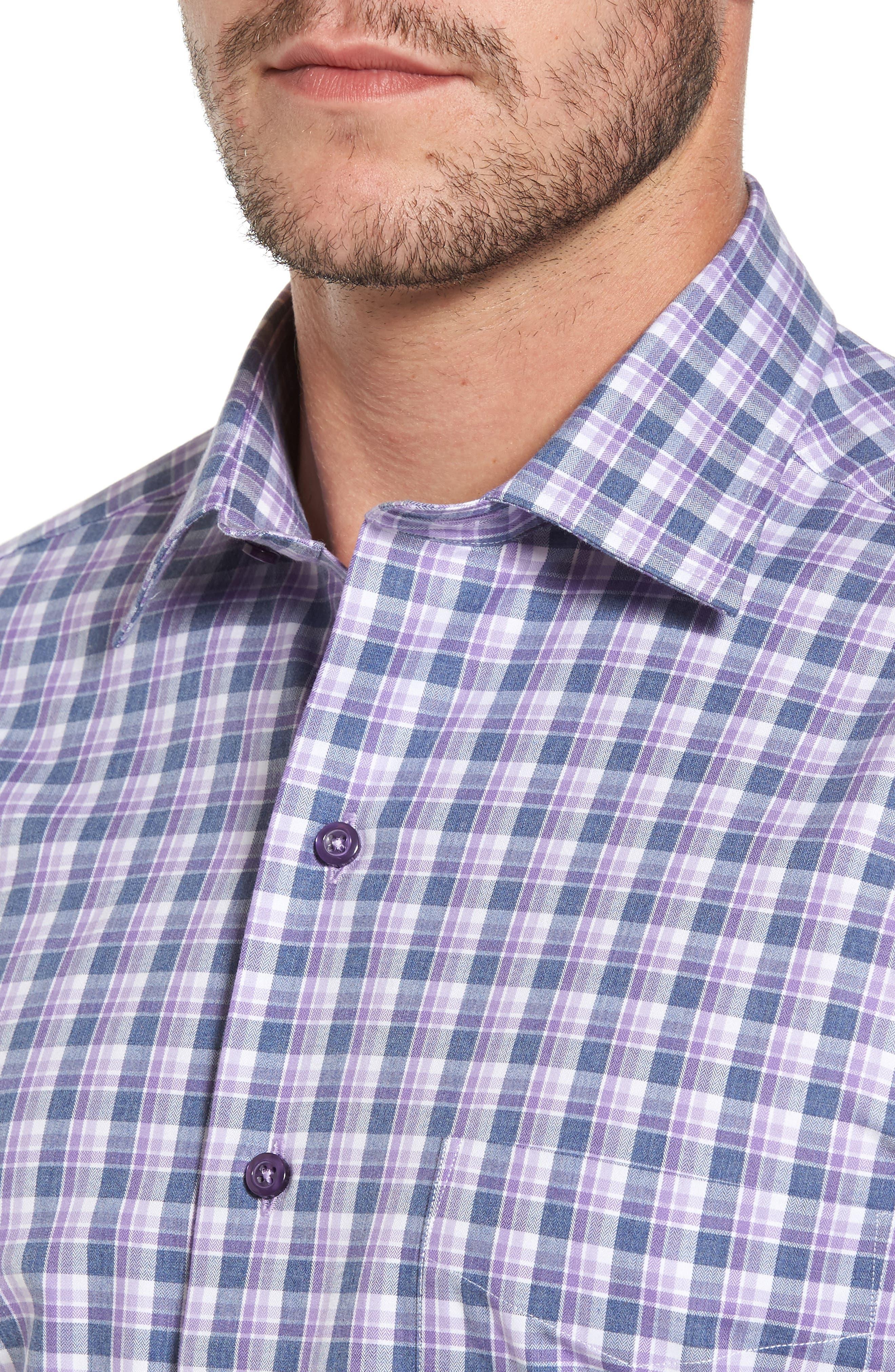 Plaid Herringbone Sport Shirt,                             Alternate thumbnail 2, color,                             Blue/ Purple