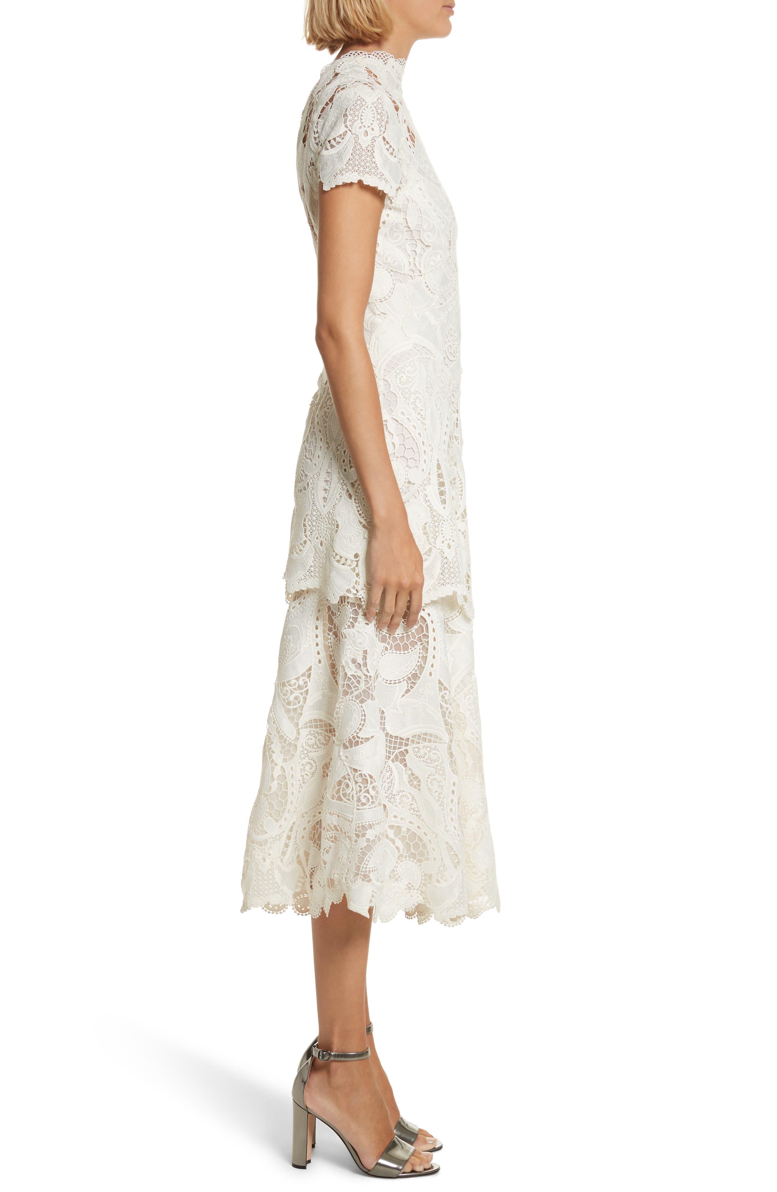 Appliqué Lace Midi Dress,                             Alternate thumbnail 3, color,                             Ivory