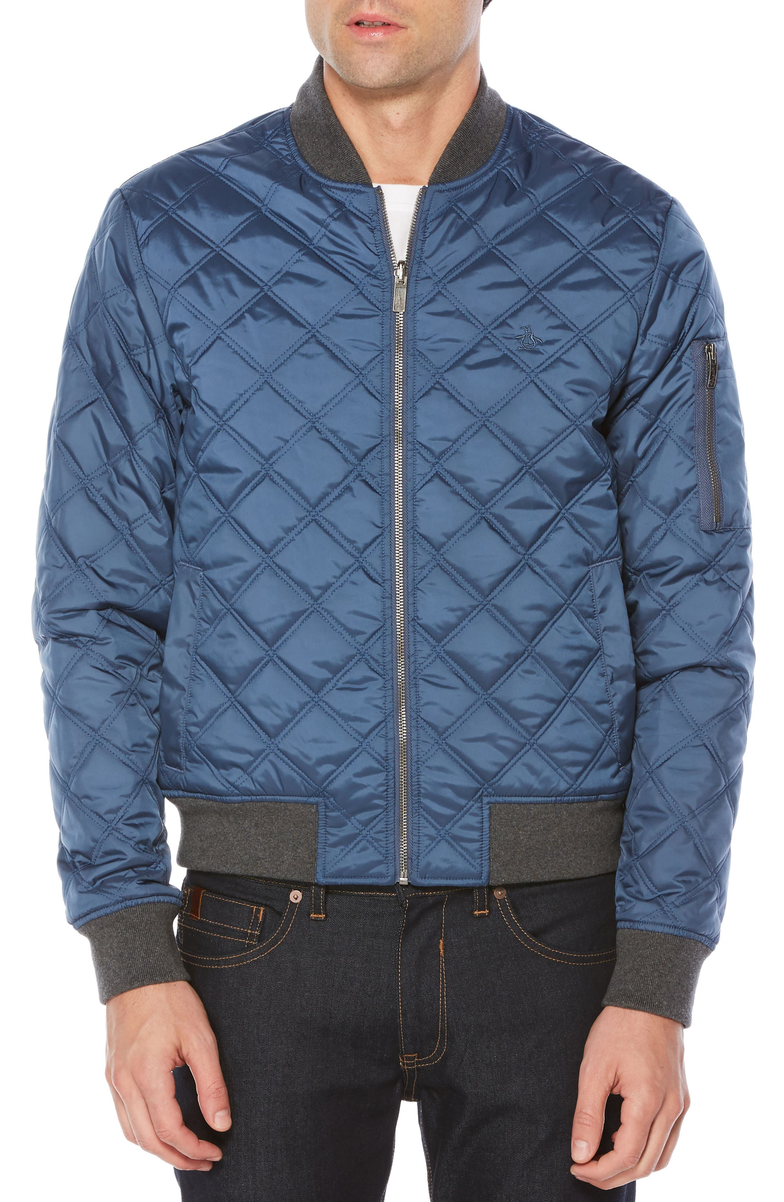 Reversible Quilted Bomber,                         Main,                         color, Dark Sapphire