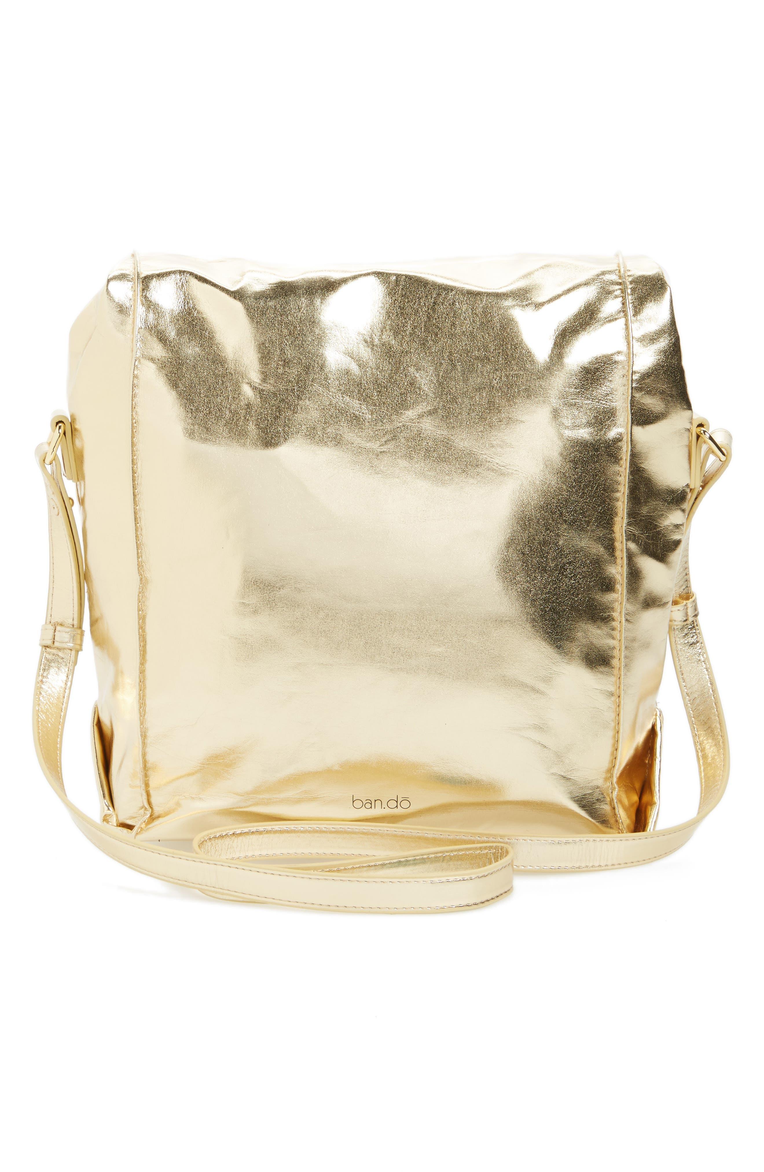 Crossbody Lunch Bag,                             Alternate thumbnail 3, color,                             Metallic Gold