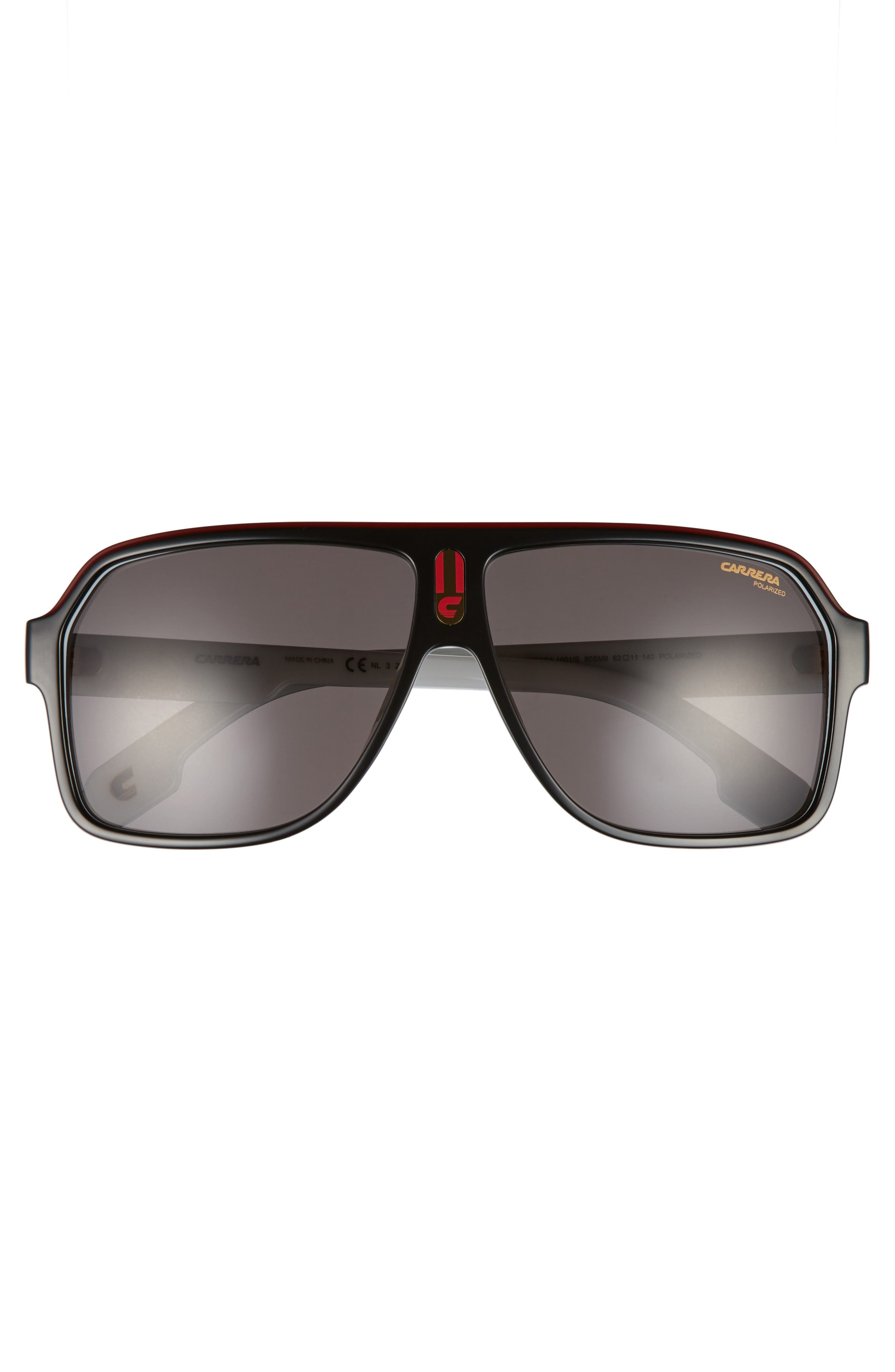 1001/S 62mm Sunglasses,                             Alternate thumbnail 2, color,                             Black White/ Gray Polarized