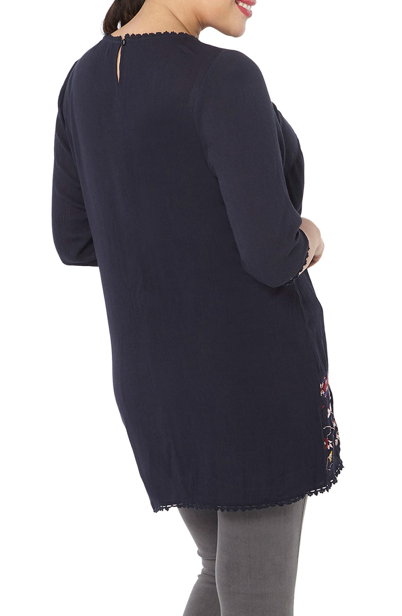 Embroidered Tunic,                             Alternate thumbnail 2, color,                             Navy