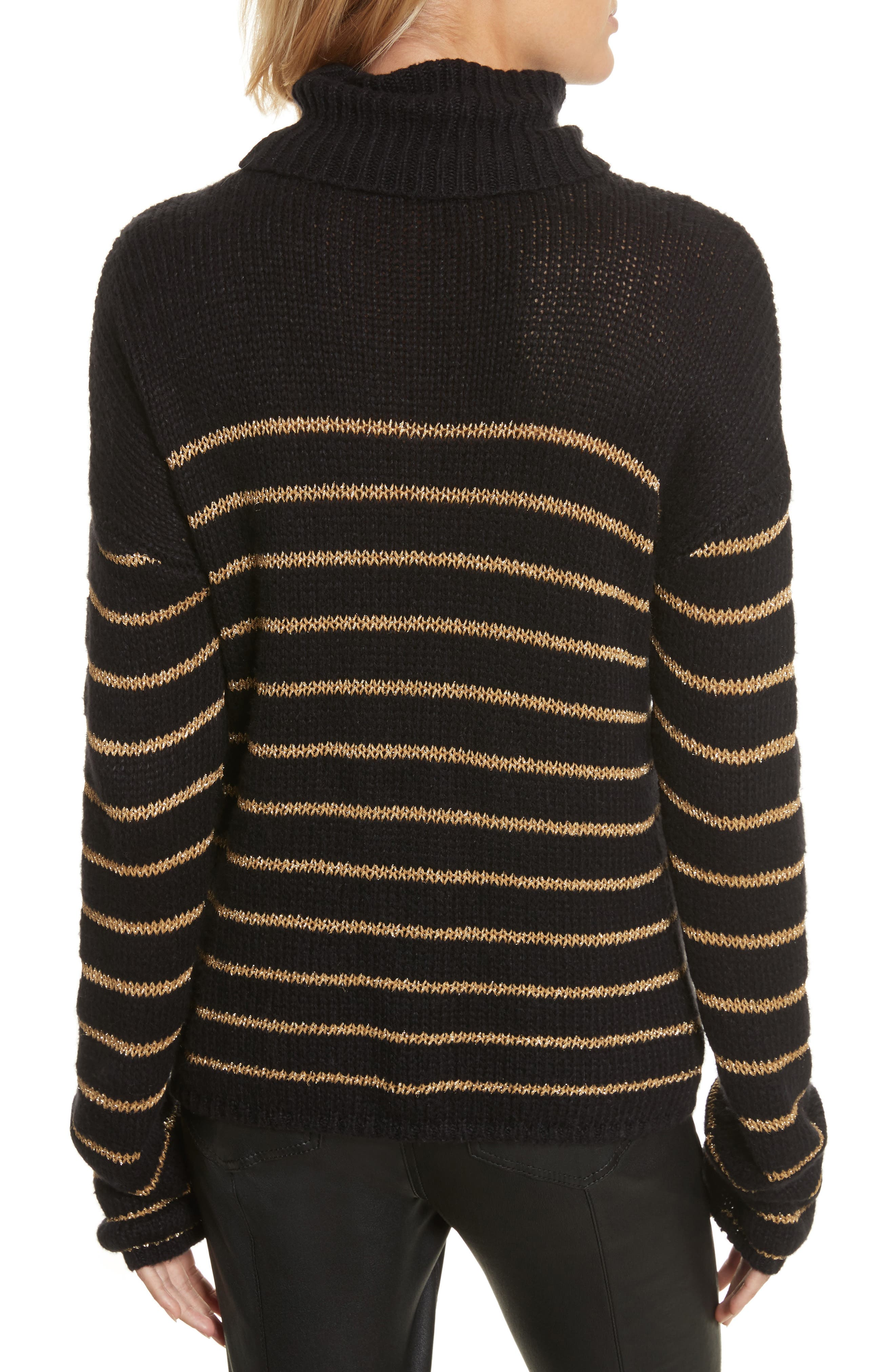 Alternate Image 2  - A.L.C. Elisa Metallic Stripe Turtleneck Sweater