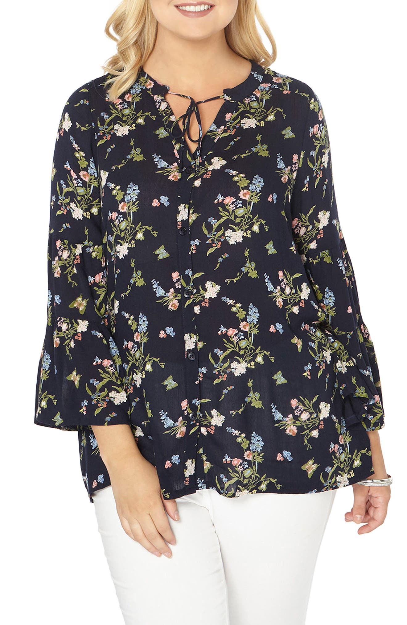 Bell Sleeve Top,                         Main,                         color, Navy