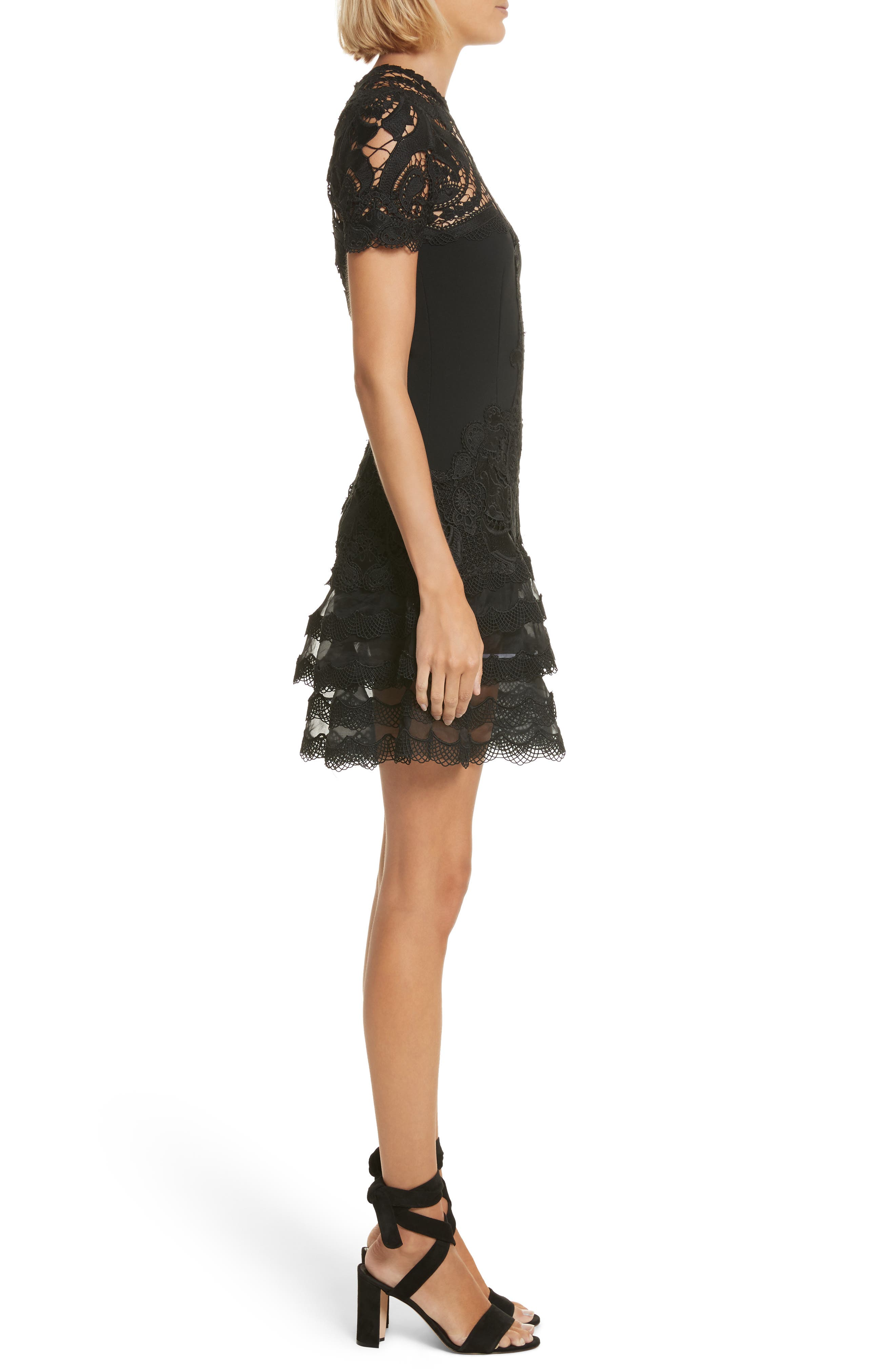 Lace Appliqué Crepe Mini Tee Dress,                             Alternate thumbnail 3, color,                             Black
