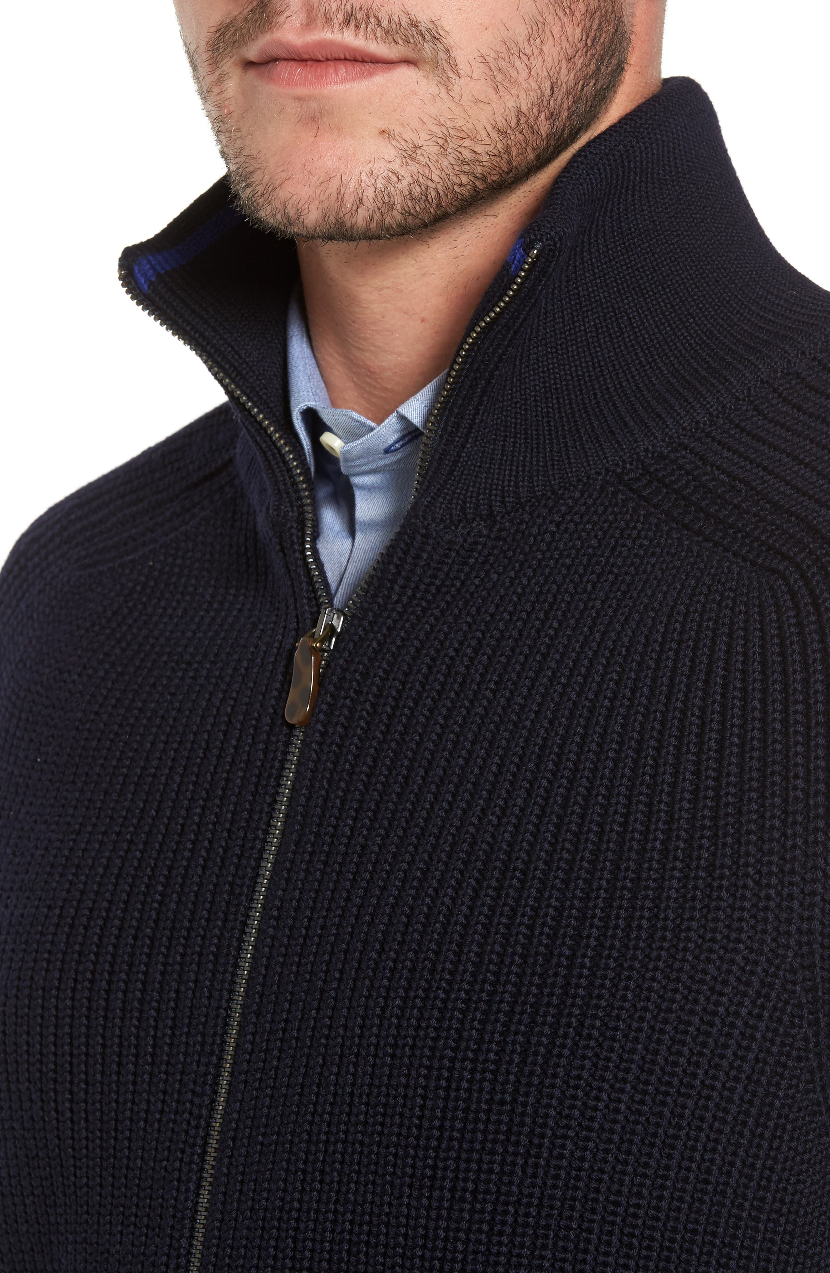 Shaker Stitch Wool Zip Cardigan,                             Alternate thumbnail 4, color,                             Navy