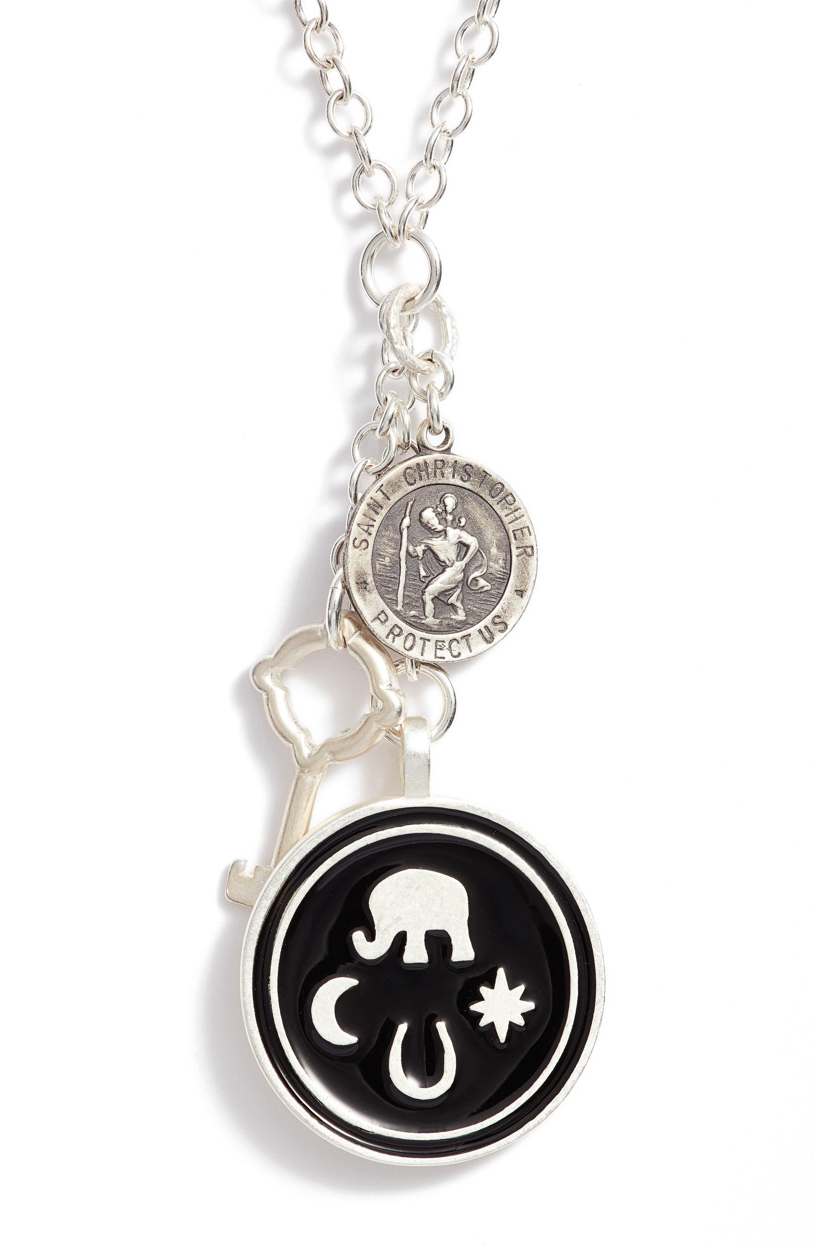 Talisman Pendant Necklace,                             Alternate thumbnail 3, color,                             Silver