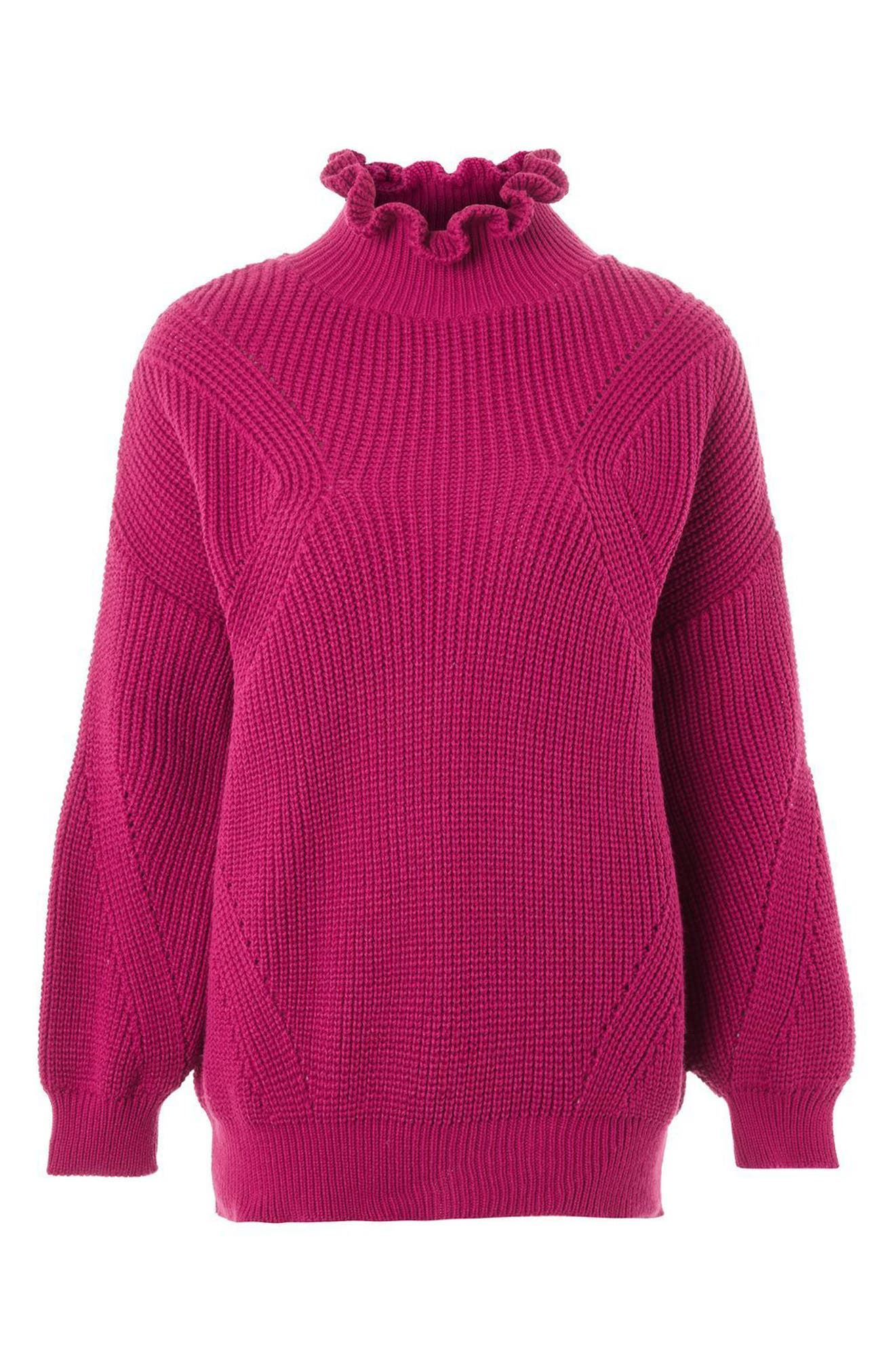 Frill Neck Sweater,                             Alternate thumbnail 4, color,                             Bright Pink