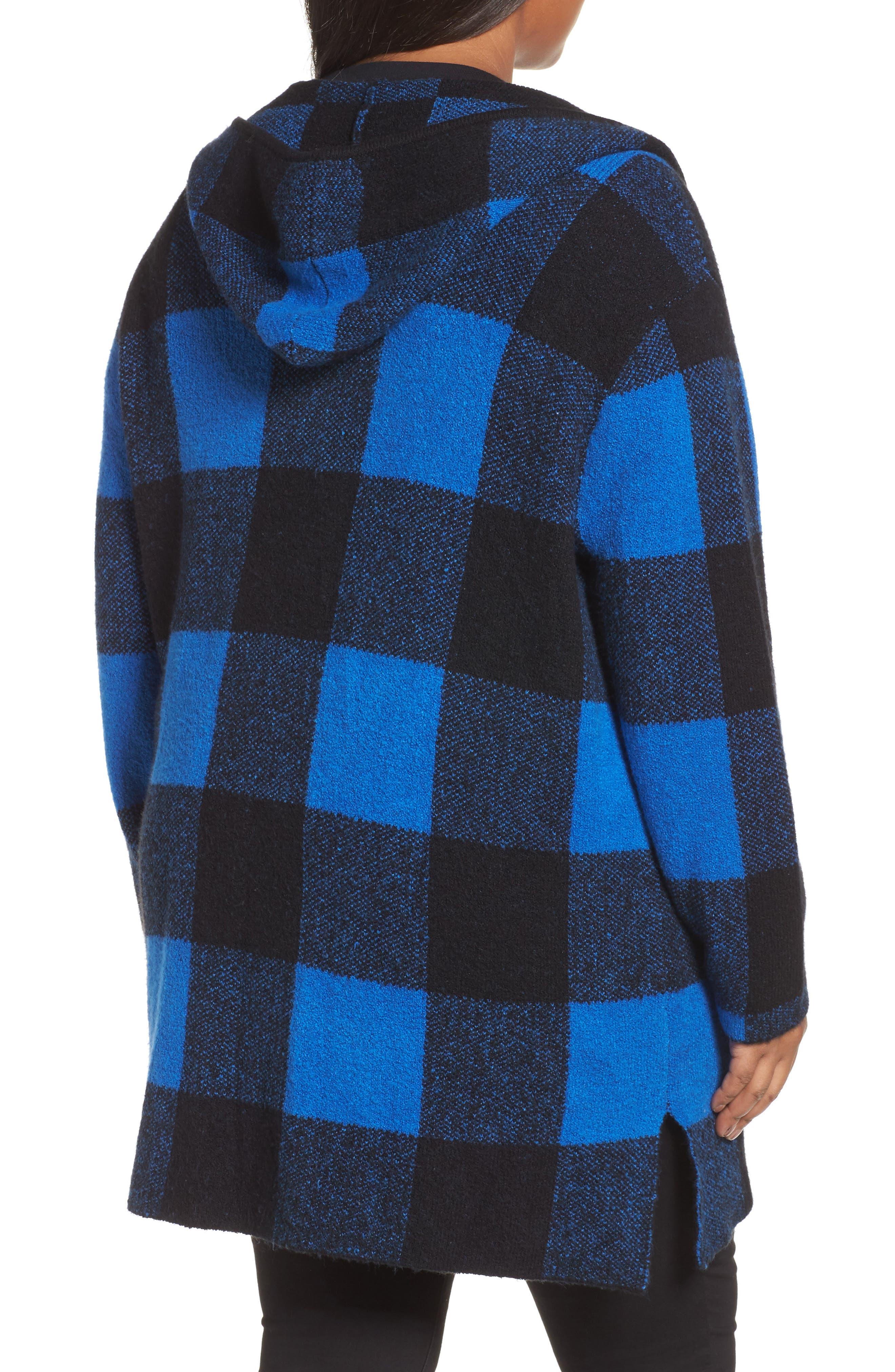 Plaid Hooded Sweater Coatigan,                             Alternate thumbnail 2, color,                             Blue Checkerboard Jacquard