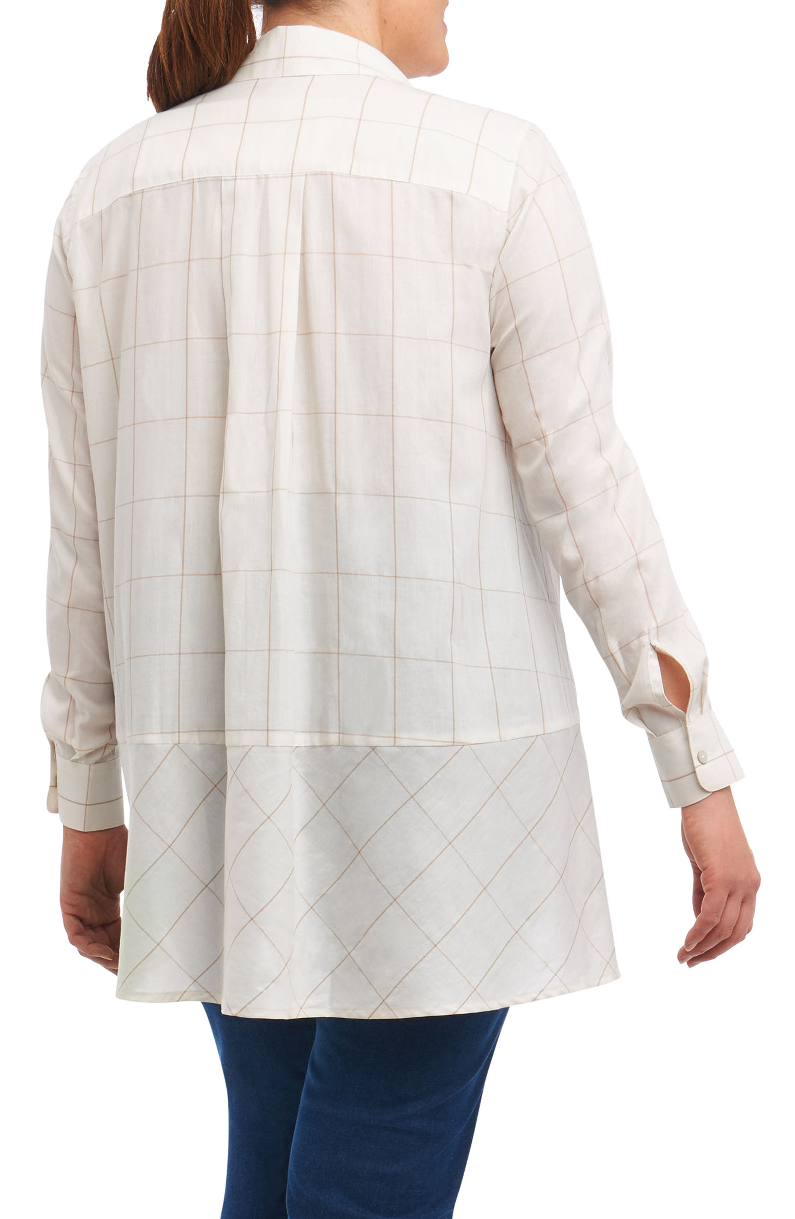 Daniela Windowpane Tunic Shirt,                             Alternate thumbnail 2, color,                             Ivory