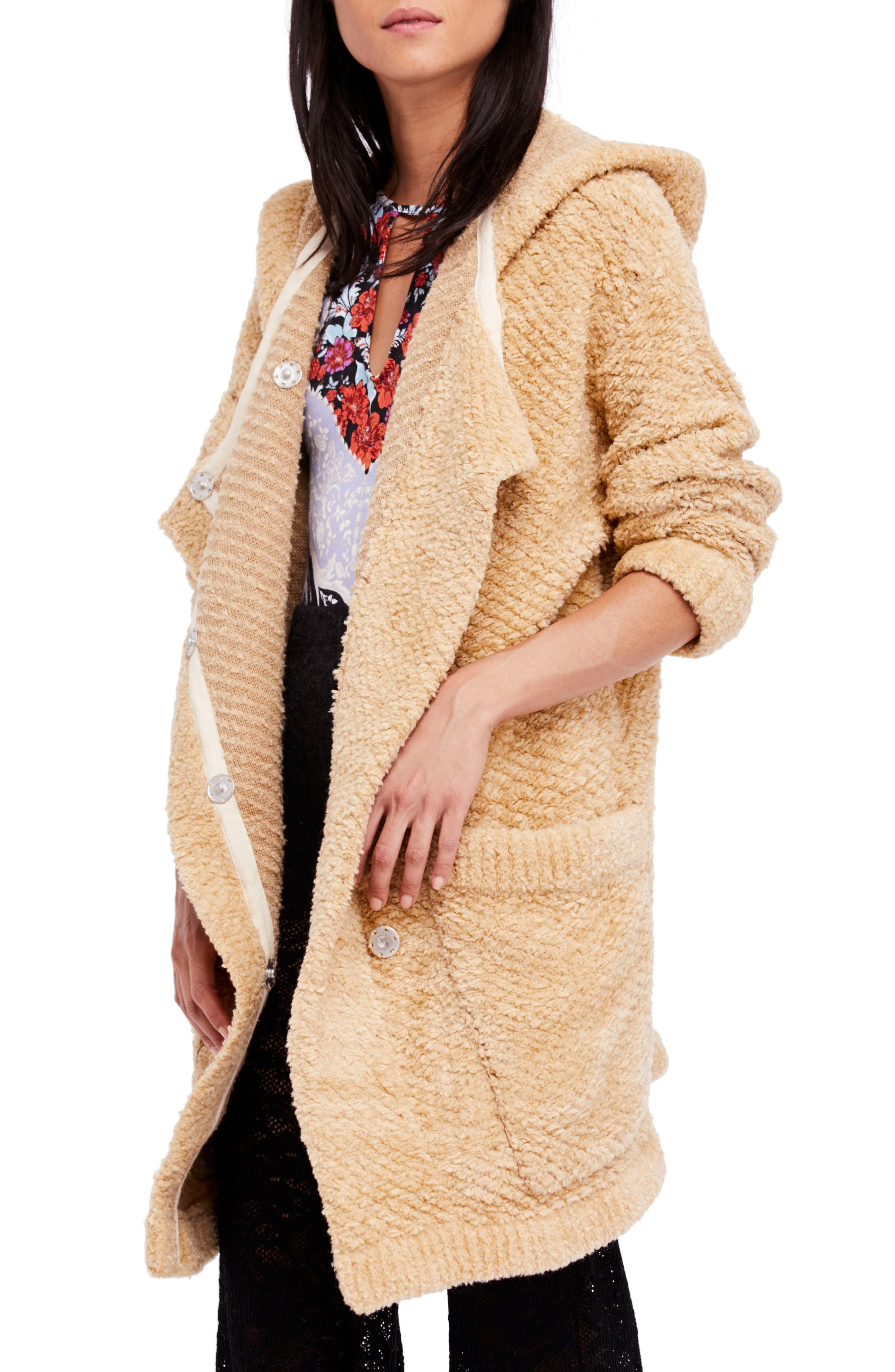 Free People Warm Wishes Hooded Sweater Jacket