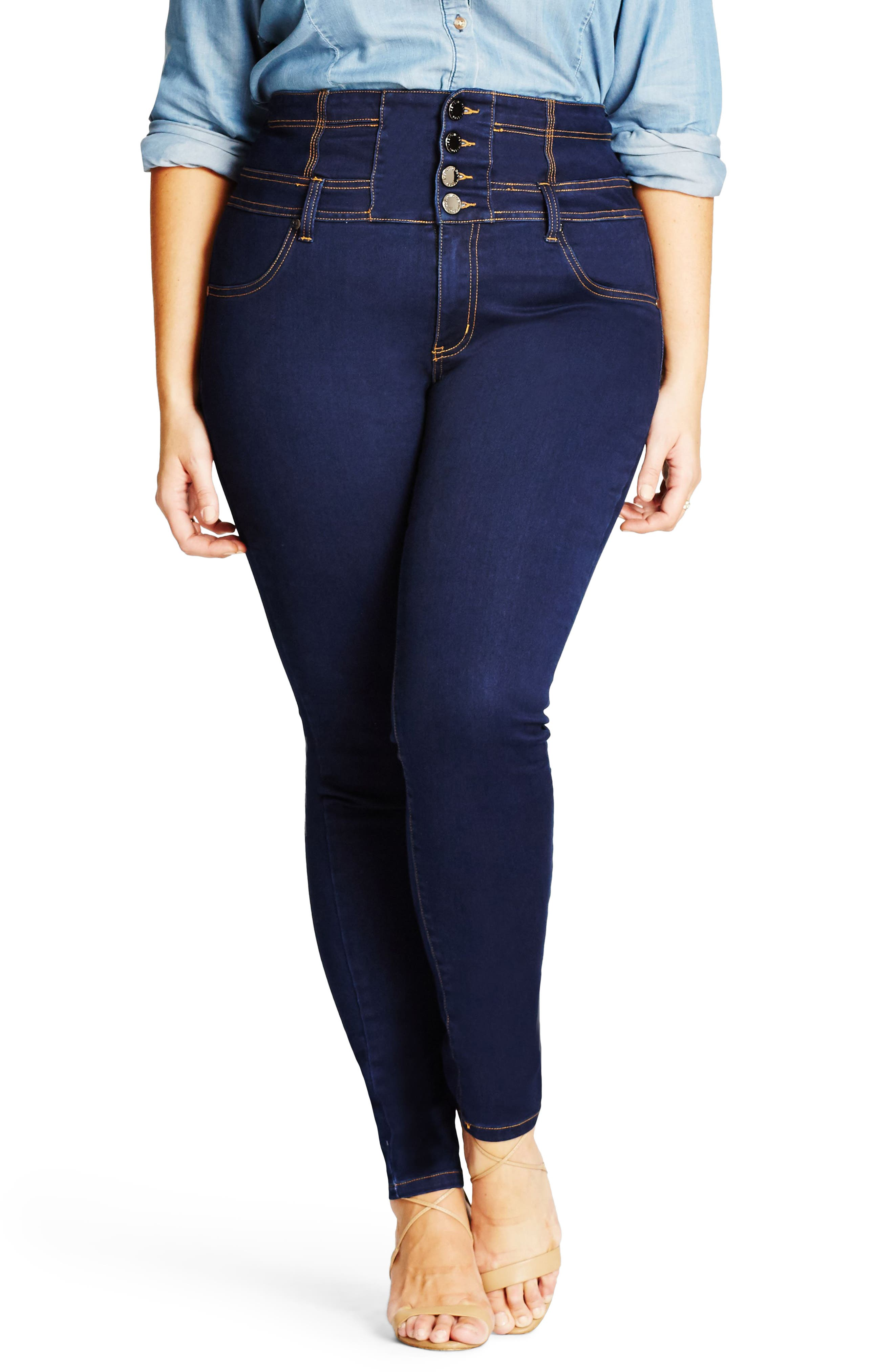 Harley Corset Waist Stretch Skinny Jeans,                         Main,                         color, Dark Denim