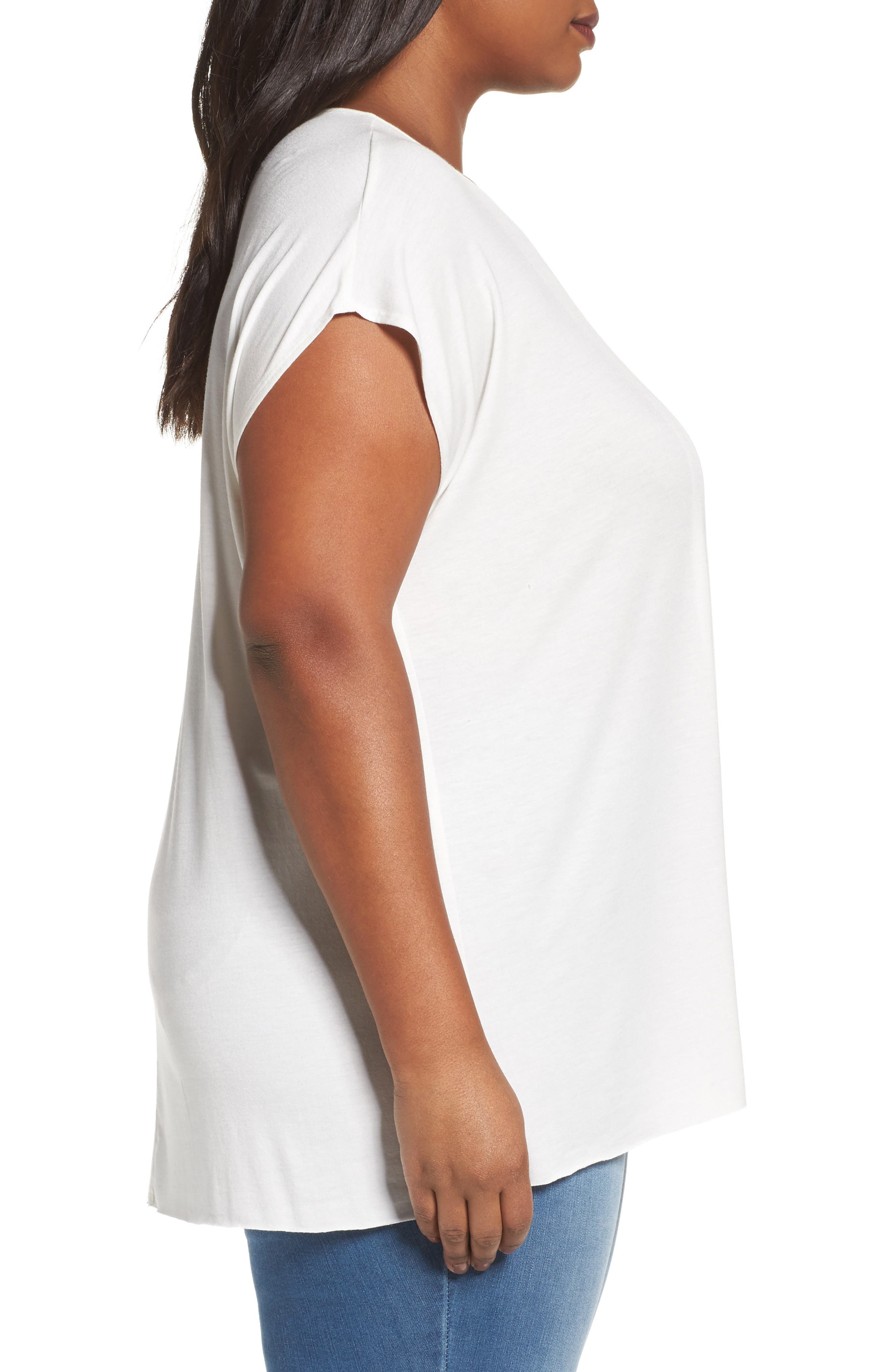 Pleat Front Tee,                             Alternate thumbnail 3, color,                             Ivory Cloud