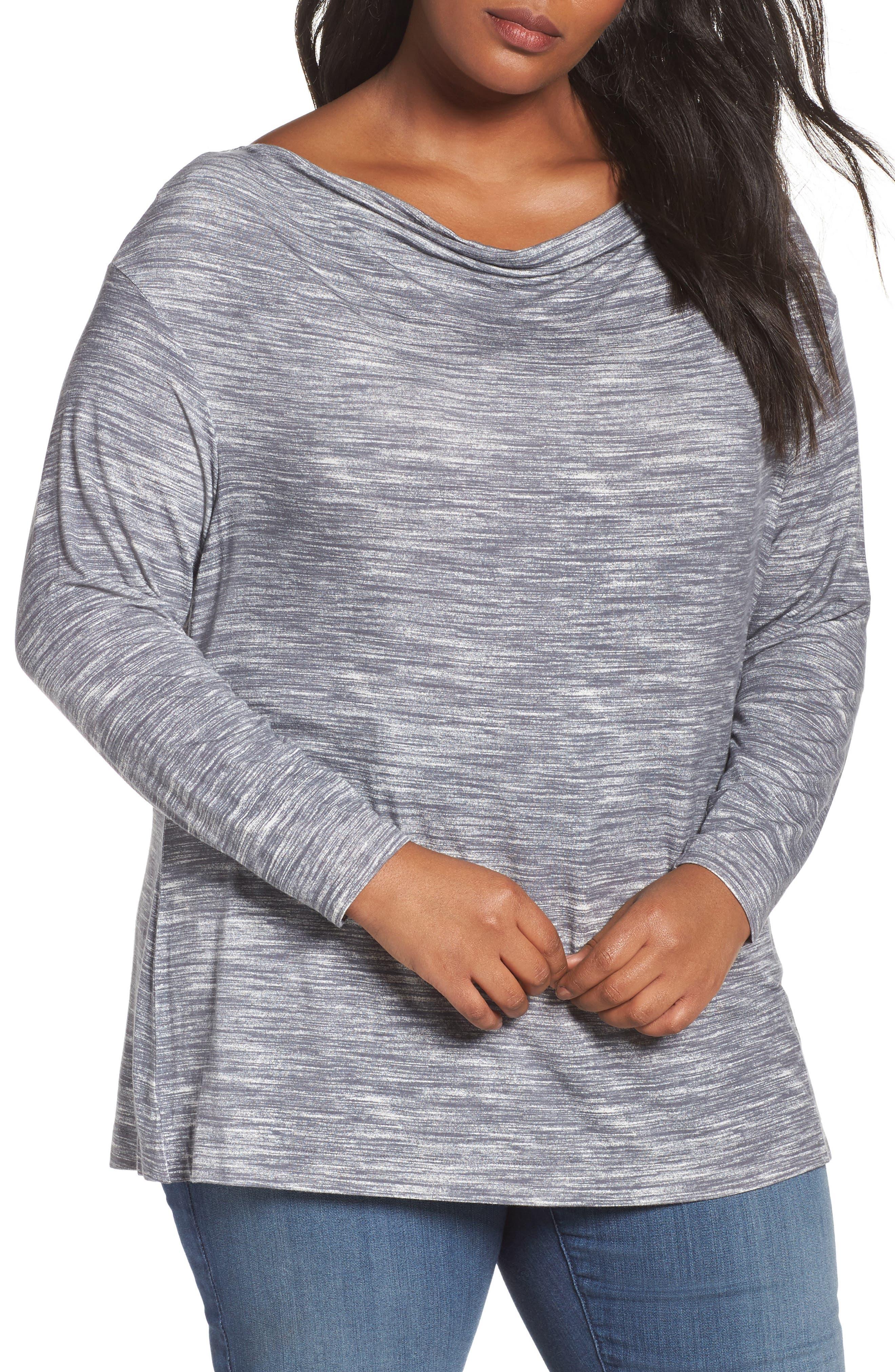 Main Image - Sejour Dolman Sleeve Space Dye Tee (Plus Size)