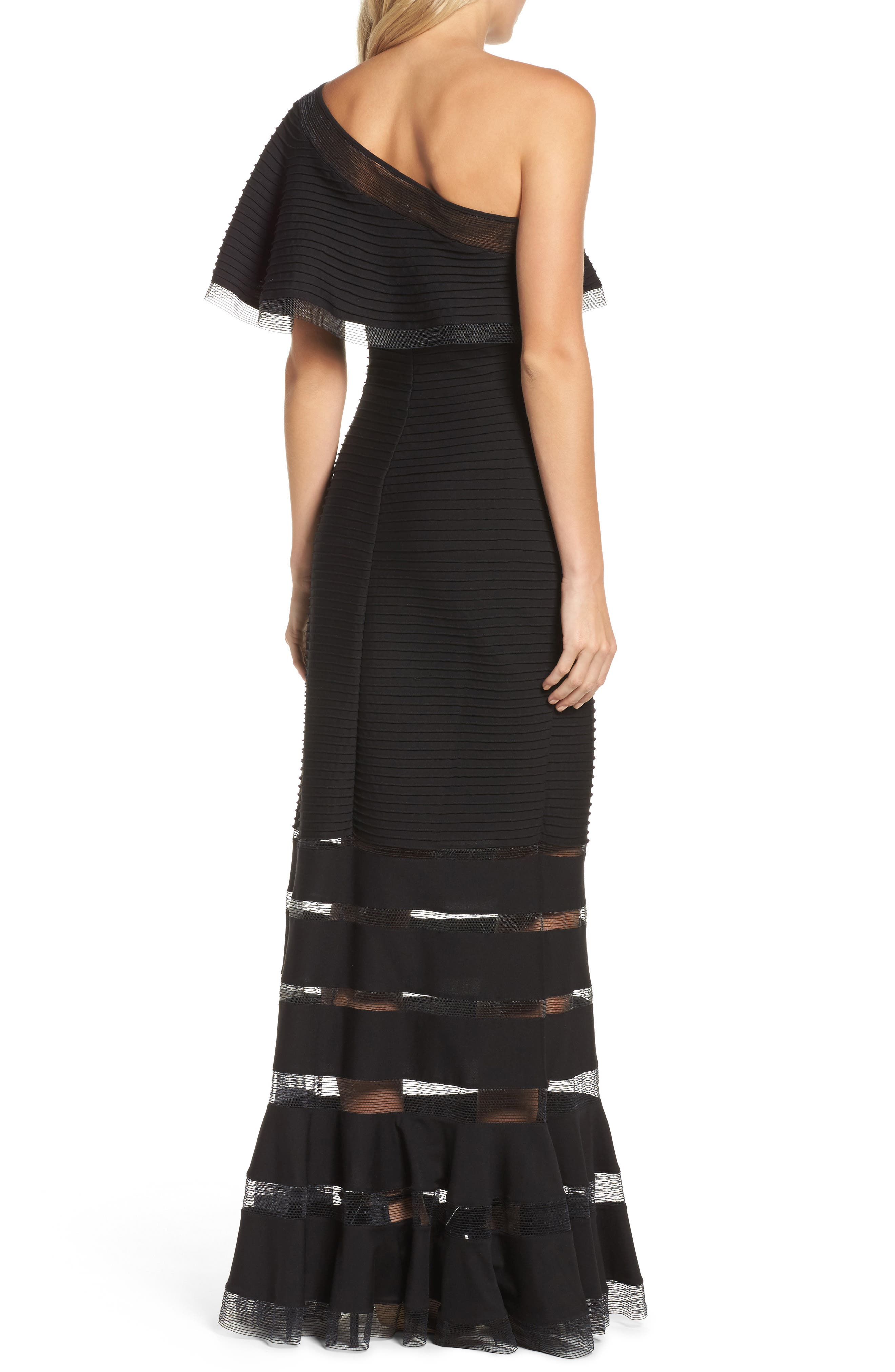 Alternate Image 2  - Tadashi Shoji Pintuck One-Shoulder Gown (Regular & Petite)