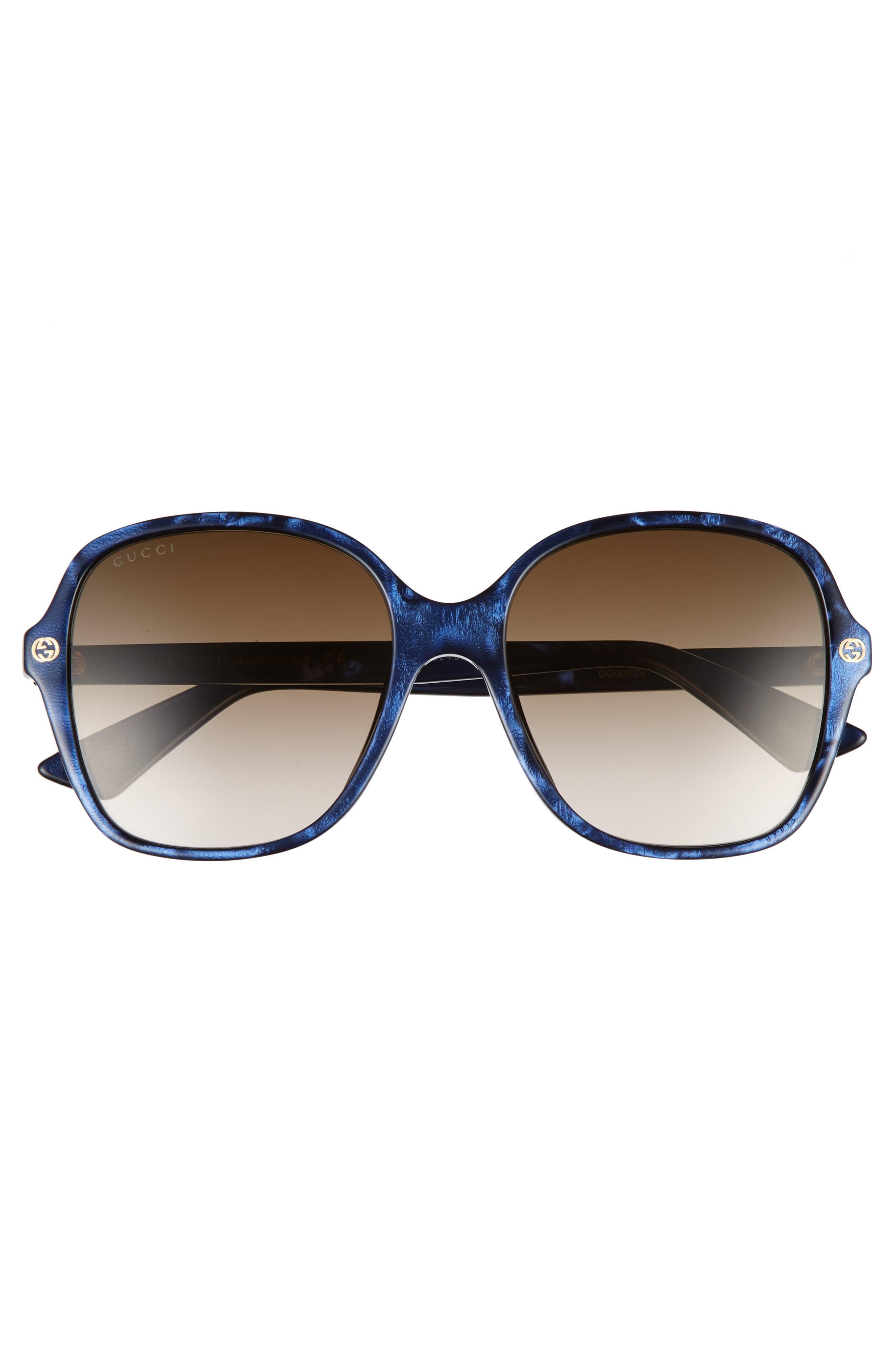 55mm Gradient Sunglasses,                             Alternate thumbnail 3, color,                             Blue/ Brown