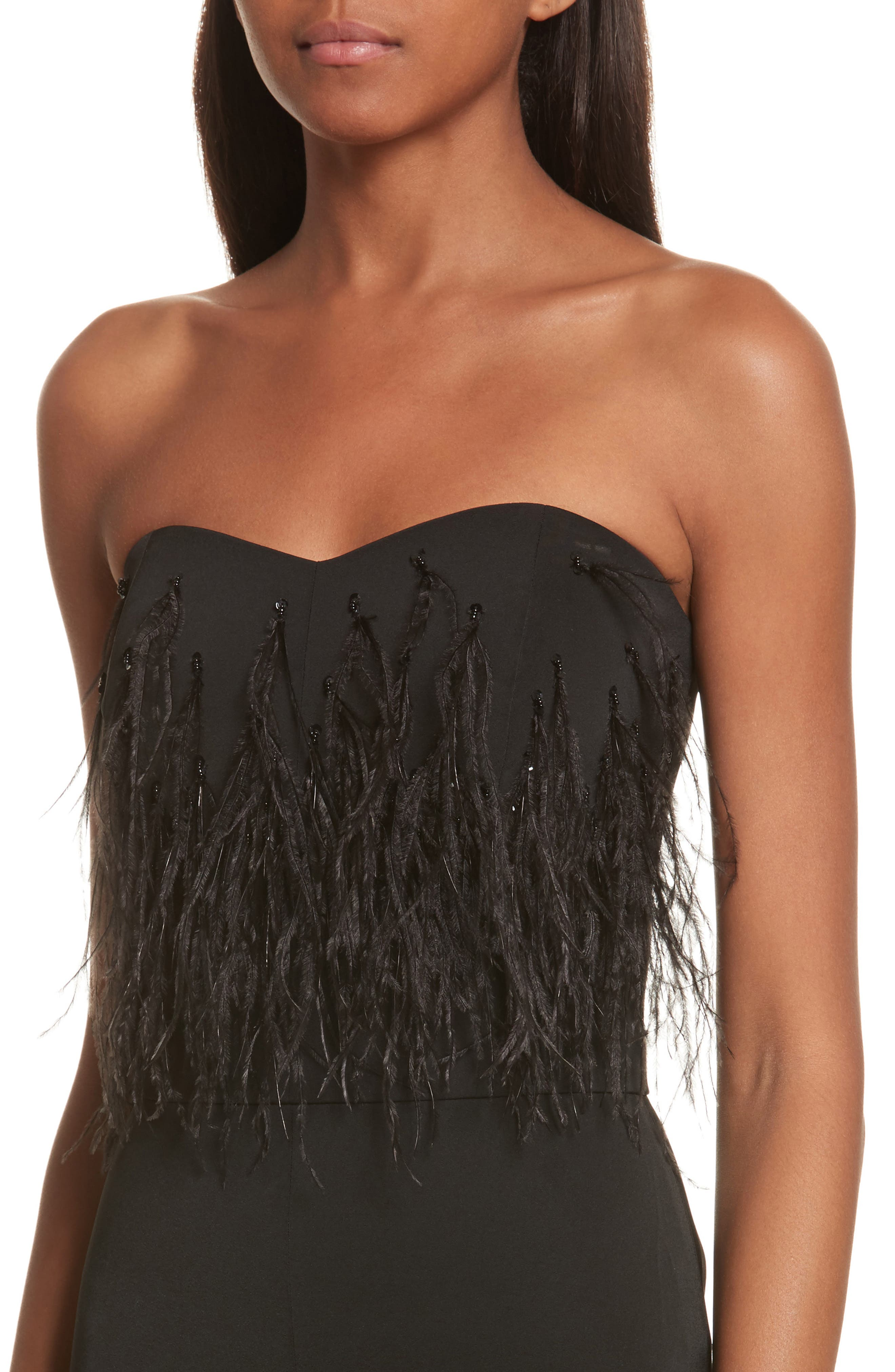 Faux Feather Trim Satin Backed Crepe Strapless Jumpsuit,                             Alternate thumbnail 4, color,                             Black Feather