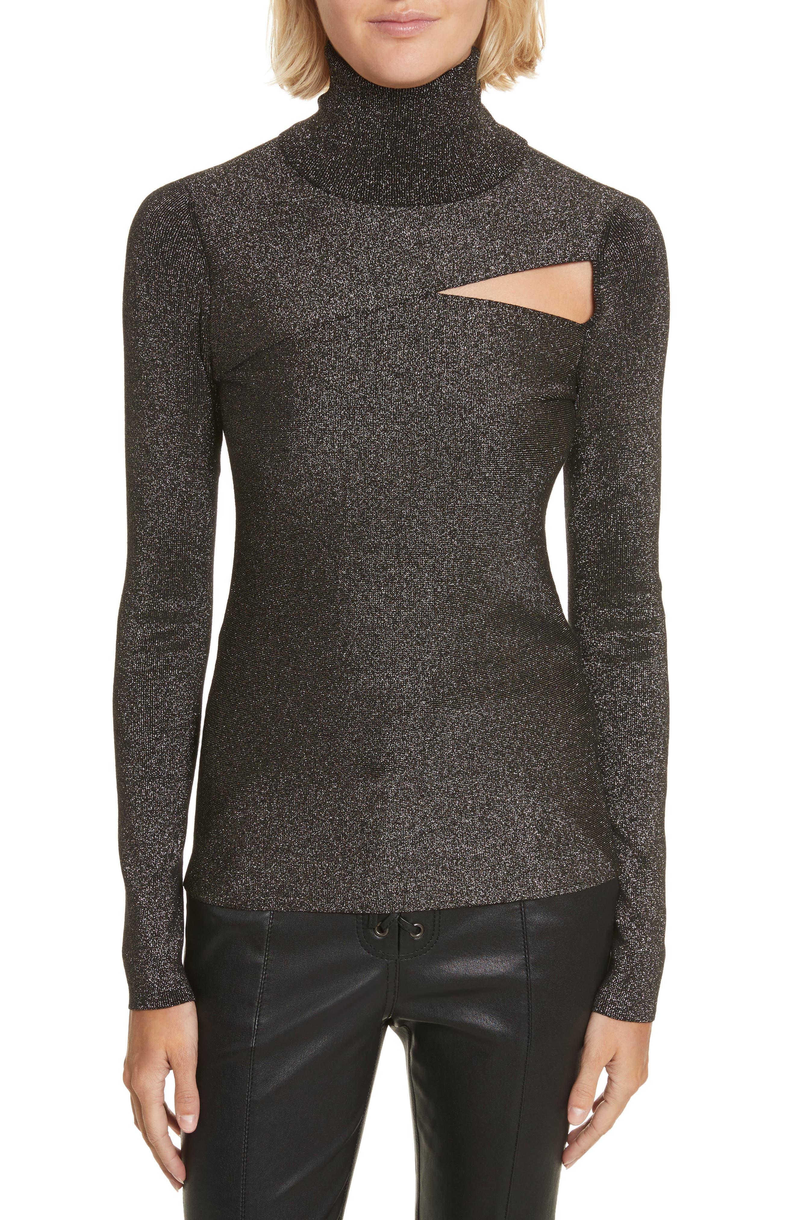 Camden Cutout Sweater,                             Main thumbnail 1, color,                             Black/ Gold