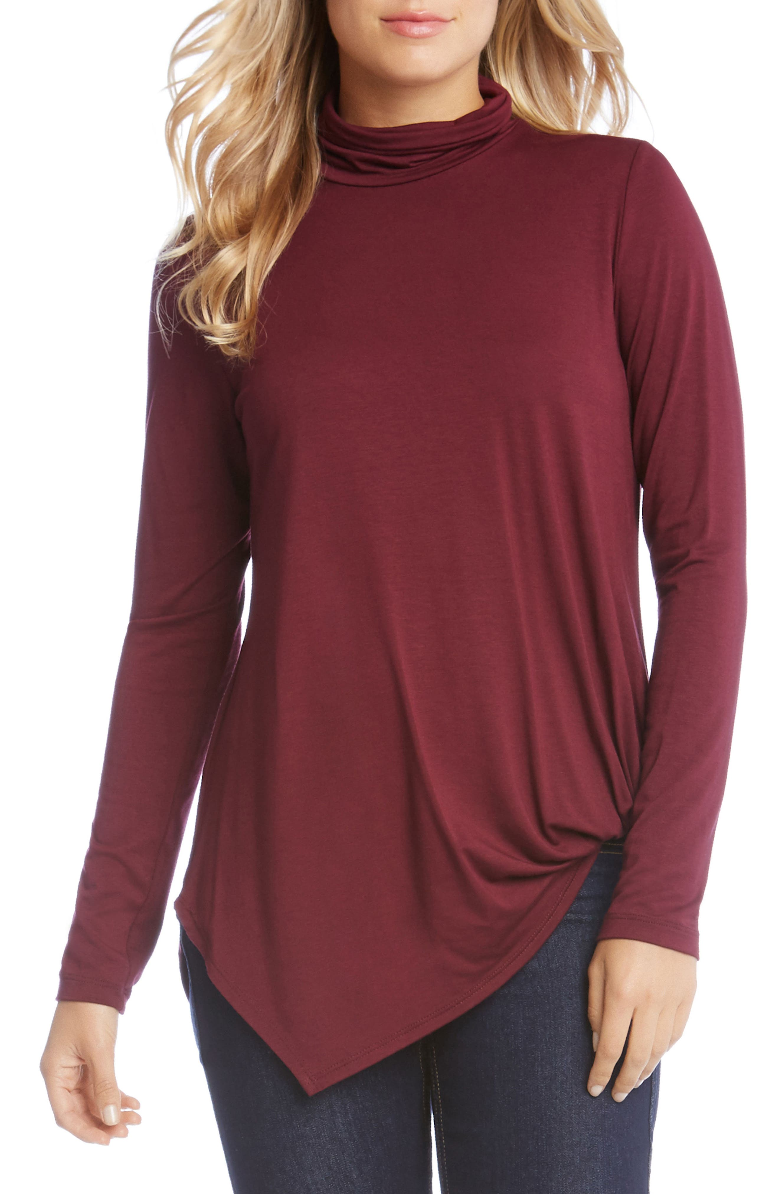 Asymmetrical Turtleneck Top,                         Main,                         color, Wine