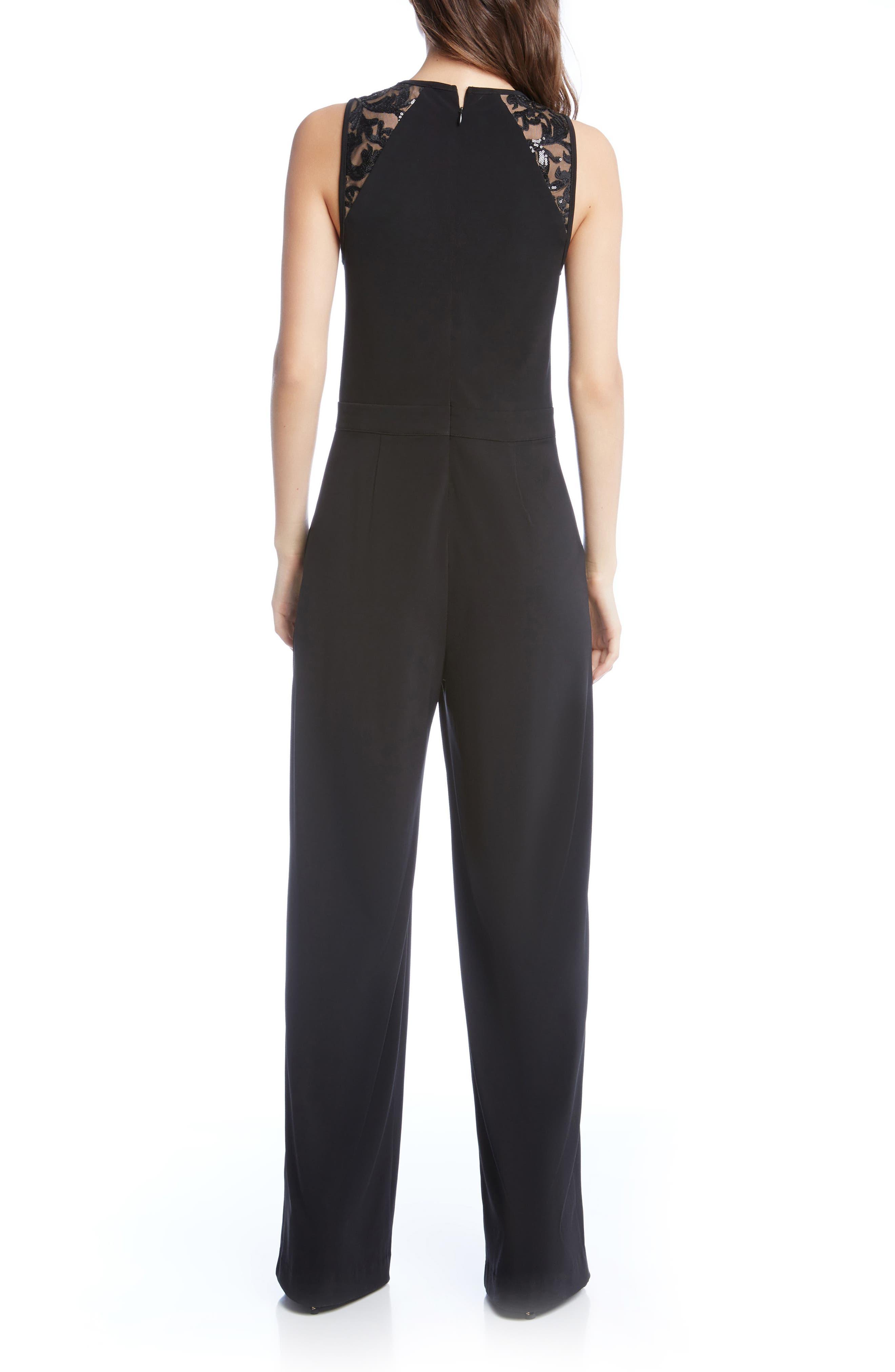 Sequin Inset Jumpsuit,                             Alternate thumbnail 2, color,                             Black