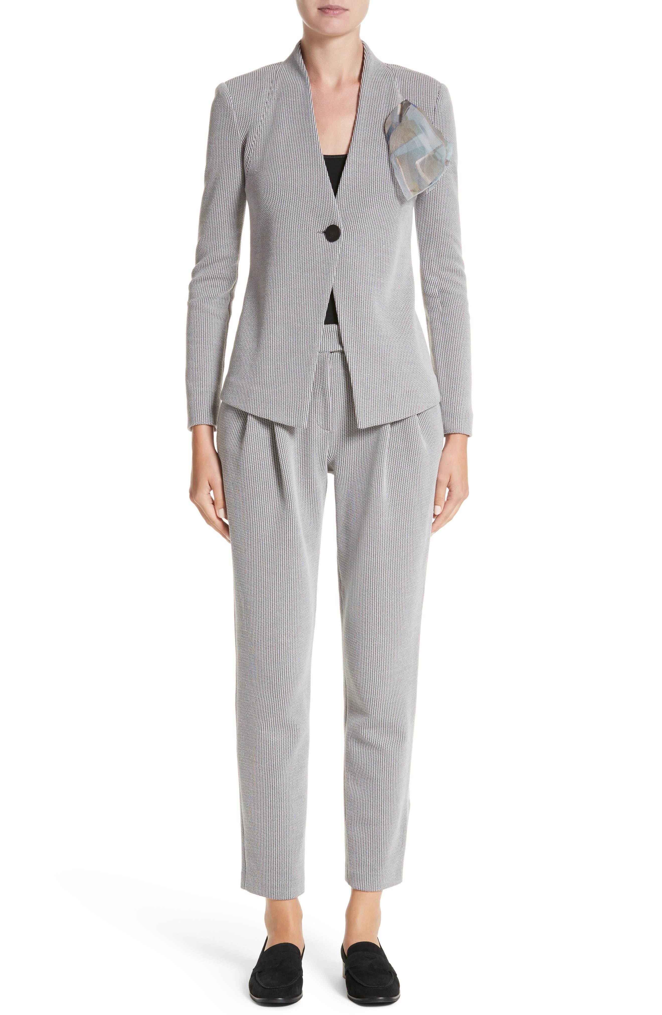 Pleated Stripe Jacquard Pants,                             Alternate thumbnail 7, color,                             Grey Multi