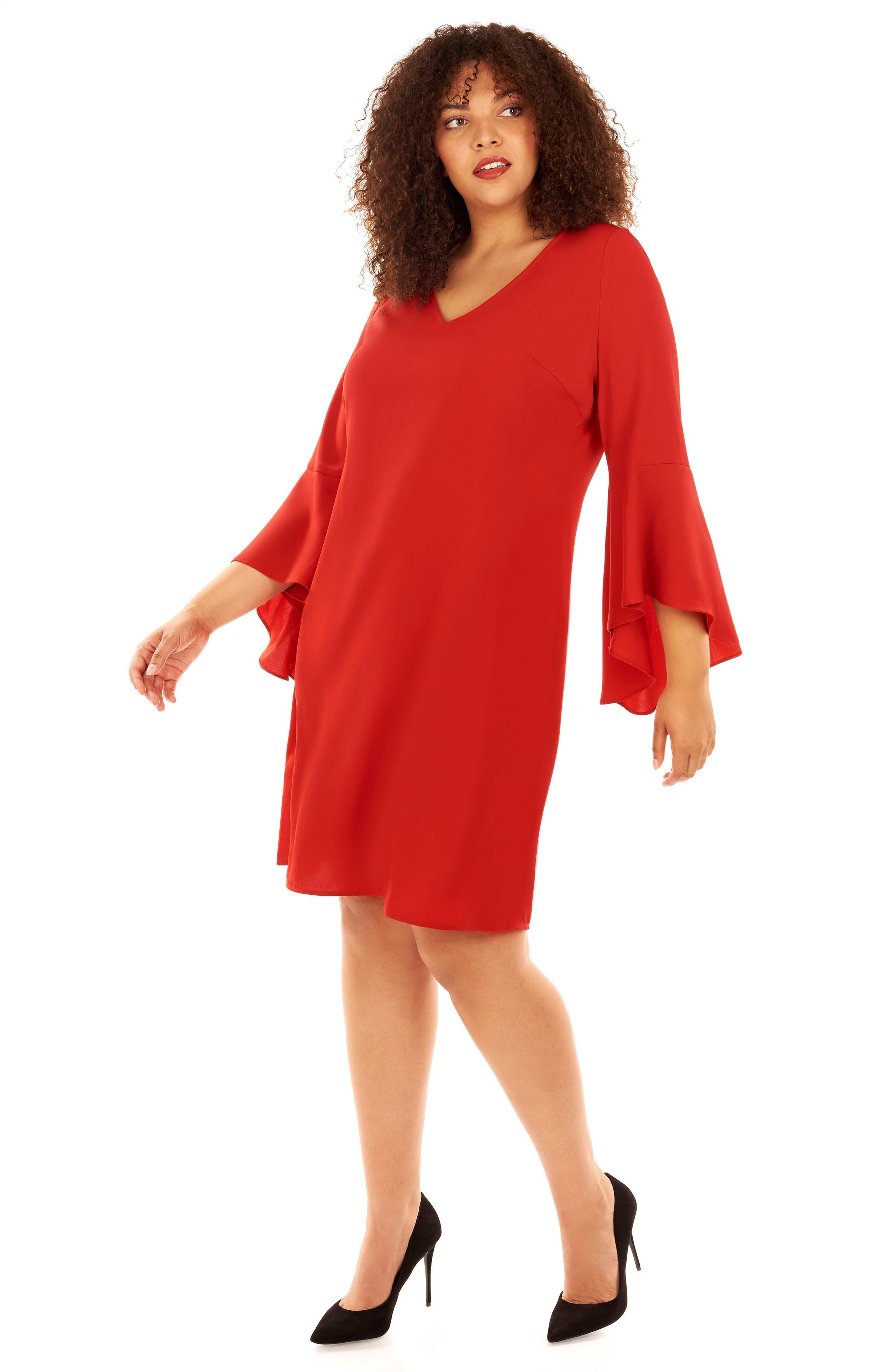 Bell Sleeve Shift Dress,                             Alternate thumbnail 2, color,                             Haute Red