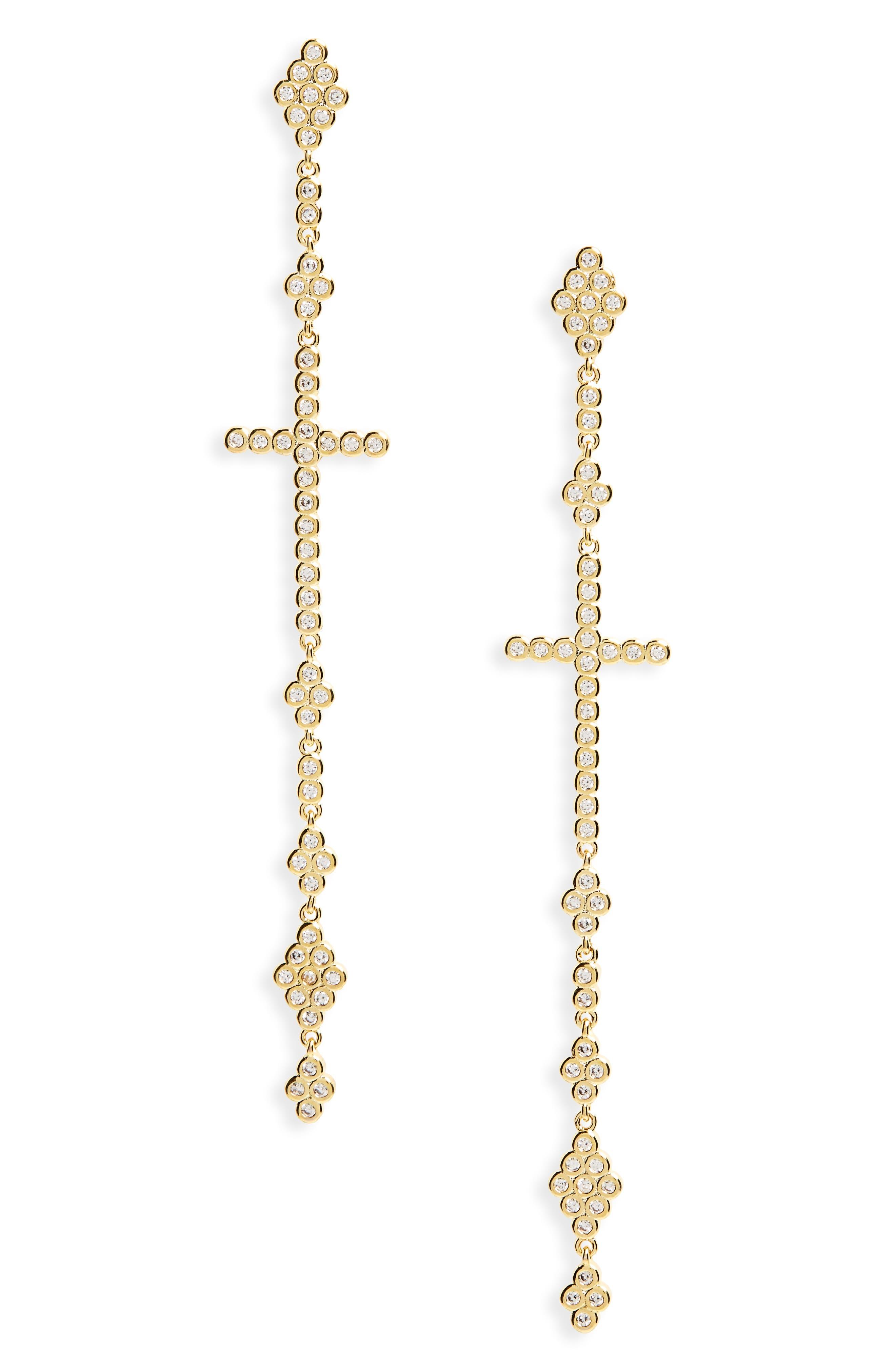 Linear Cross Earrings,                         Main,                         color, Gold