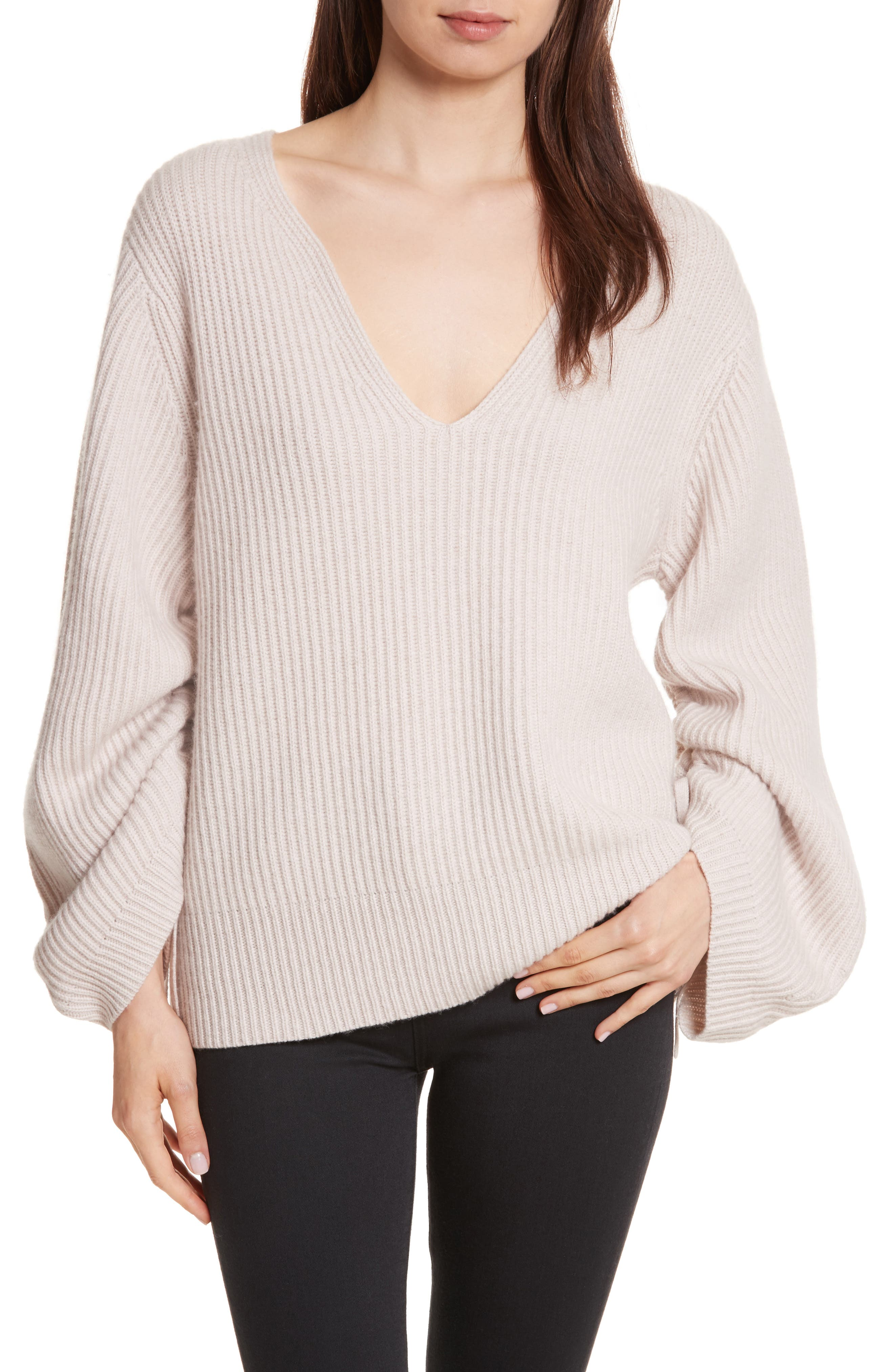 Anneka Wool & Cashmere Puff Sleeve Sweater,                         Main,                         color, Nude Beige Melange