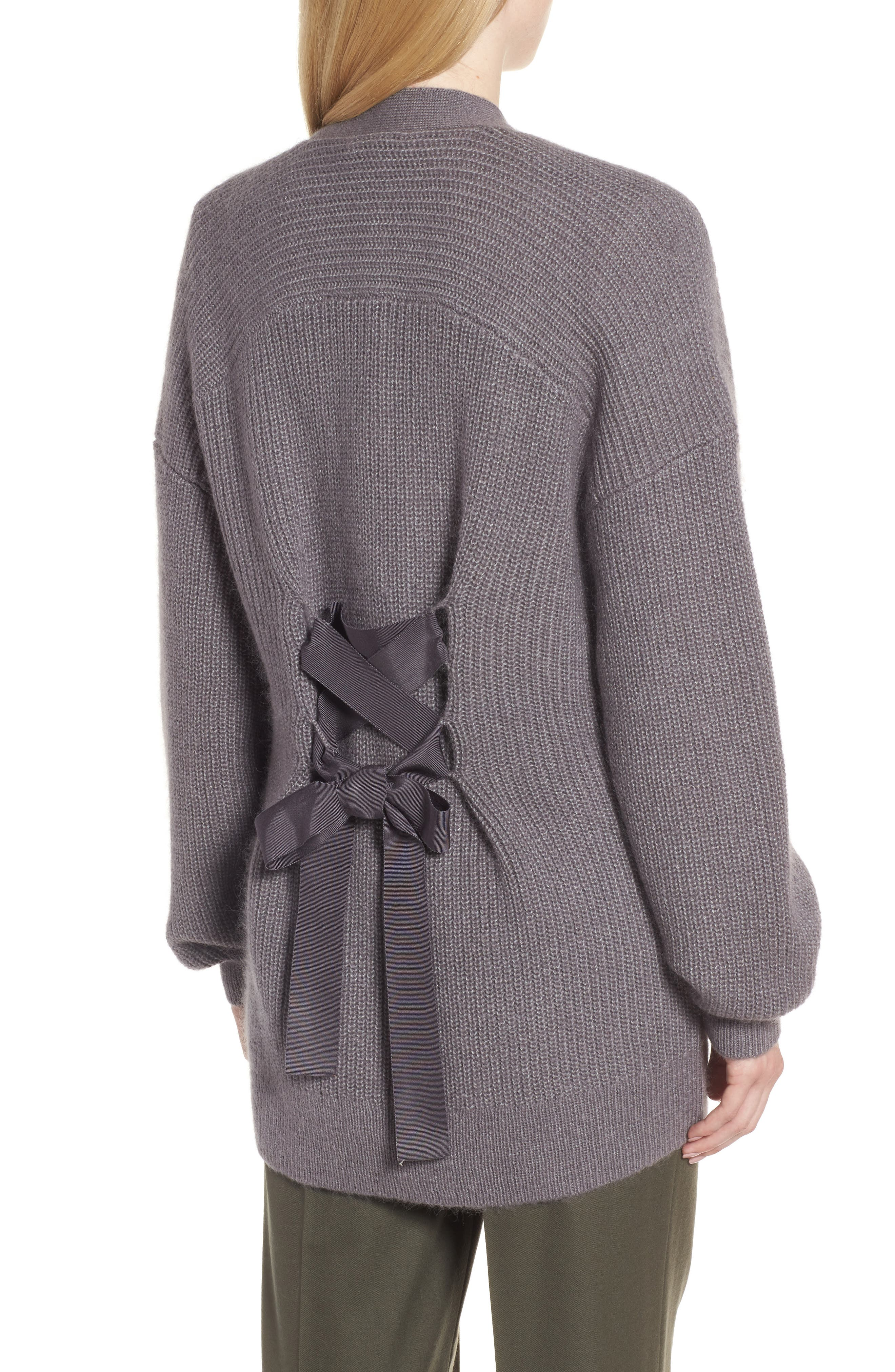 Lace-Up Back Cardigan,                         Main,                         color, Grey Asphalt