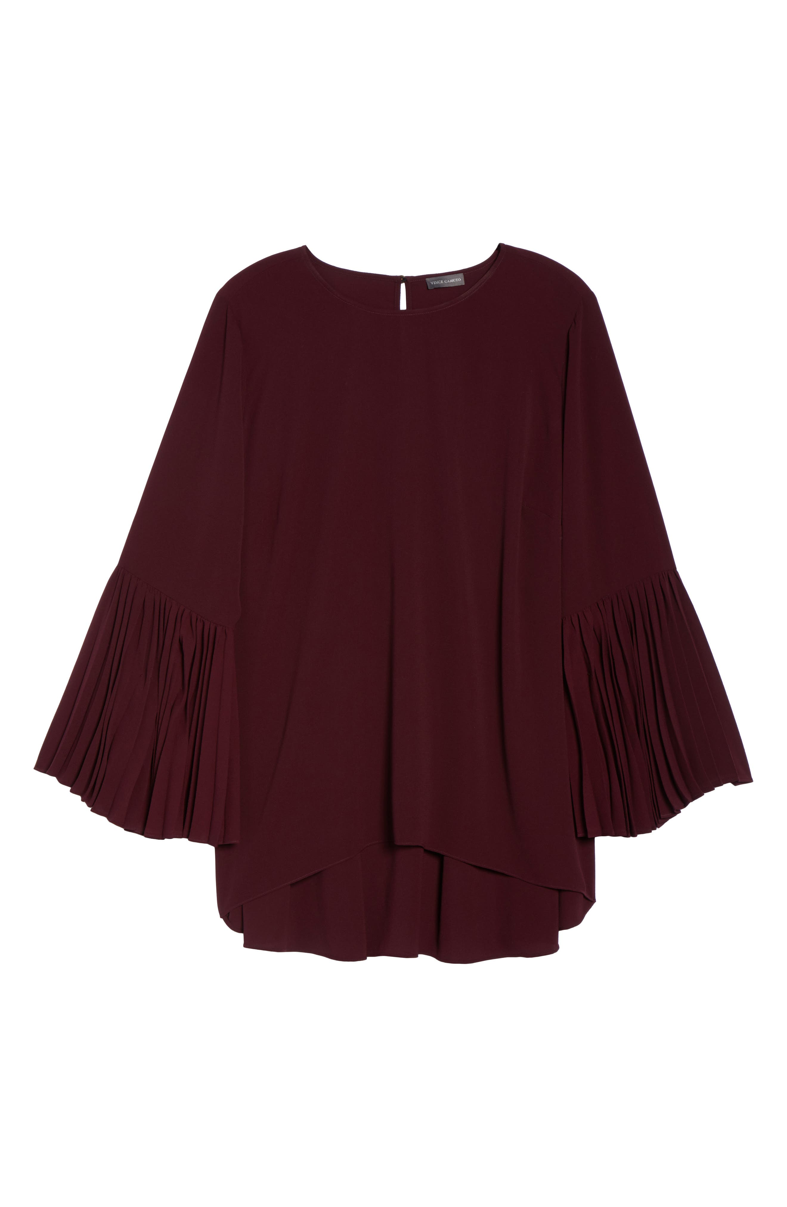 Pleated Bell Sleeve High/Low Shirt,                             Alternate thumbnail 6, color,                             Deep Claret
