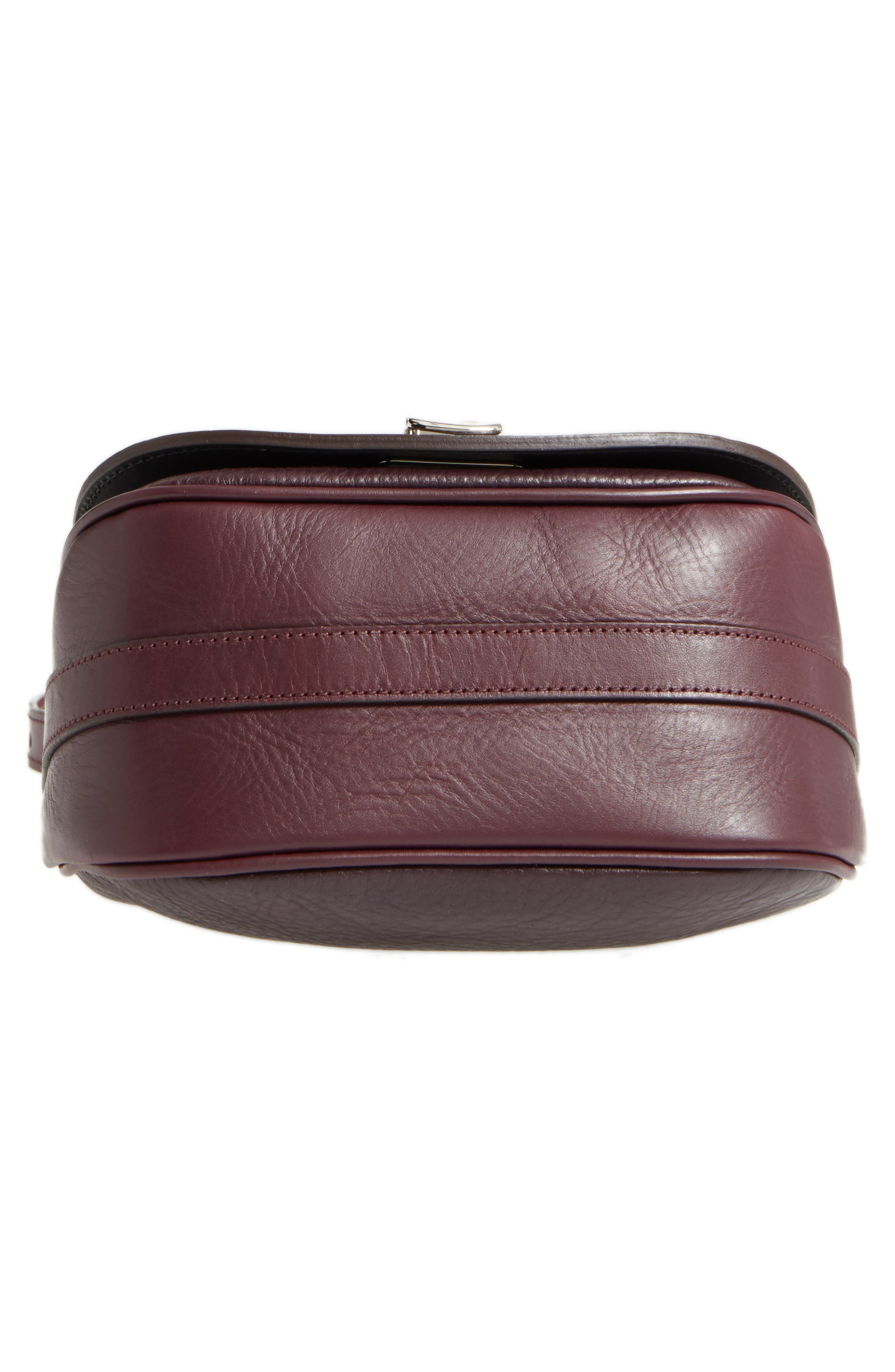 Calfskin Leather Shoulder Bag,                             Alternate thumbnail 6, color,                             Aubergine