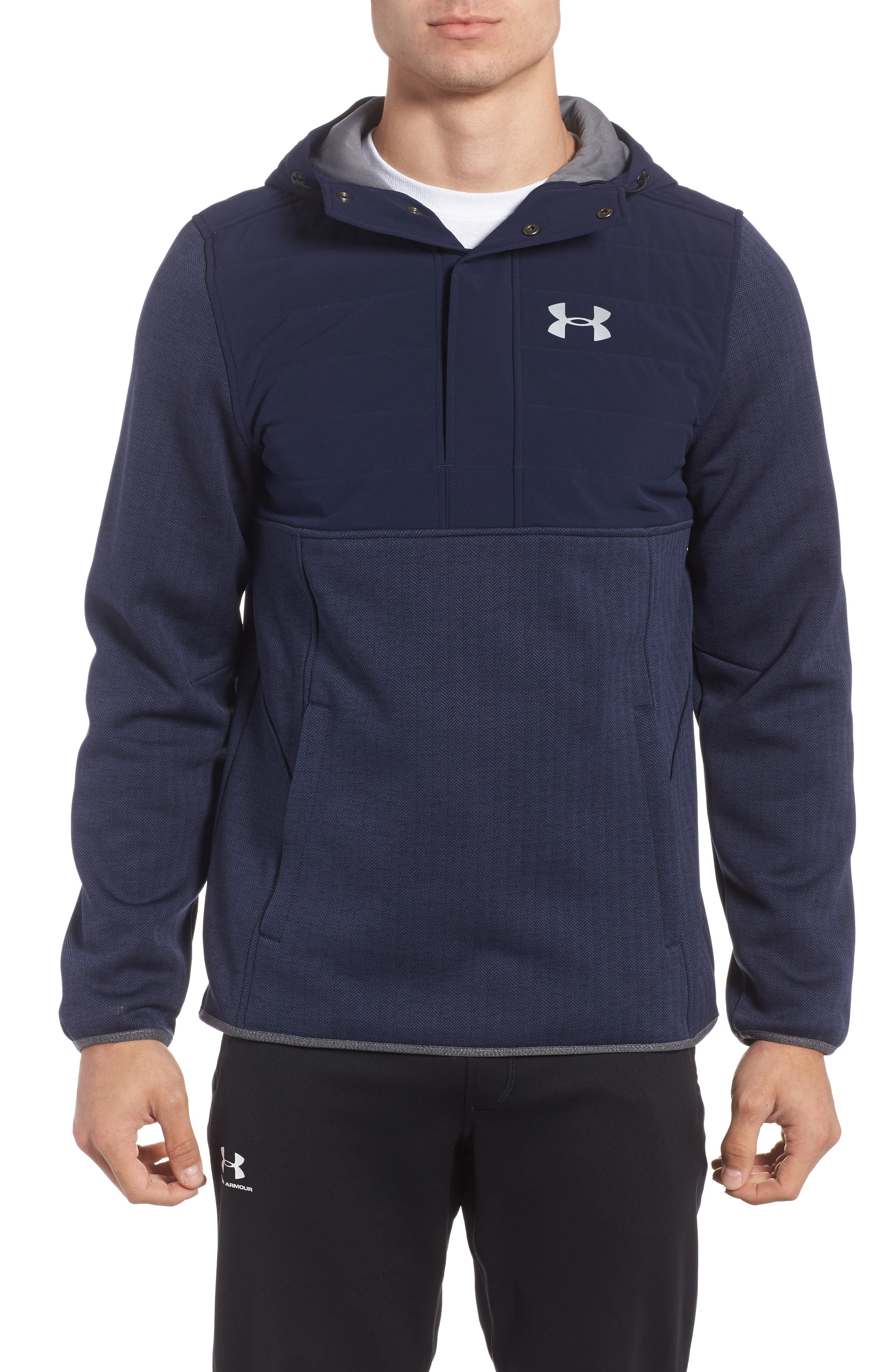 Henley Hoodie,                         Main,                         color, Midnight Navy / Reflective