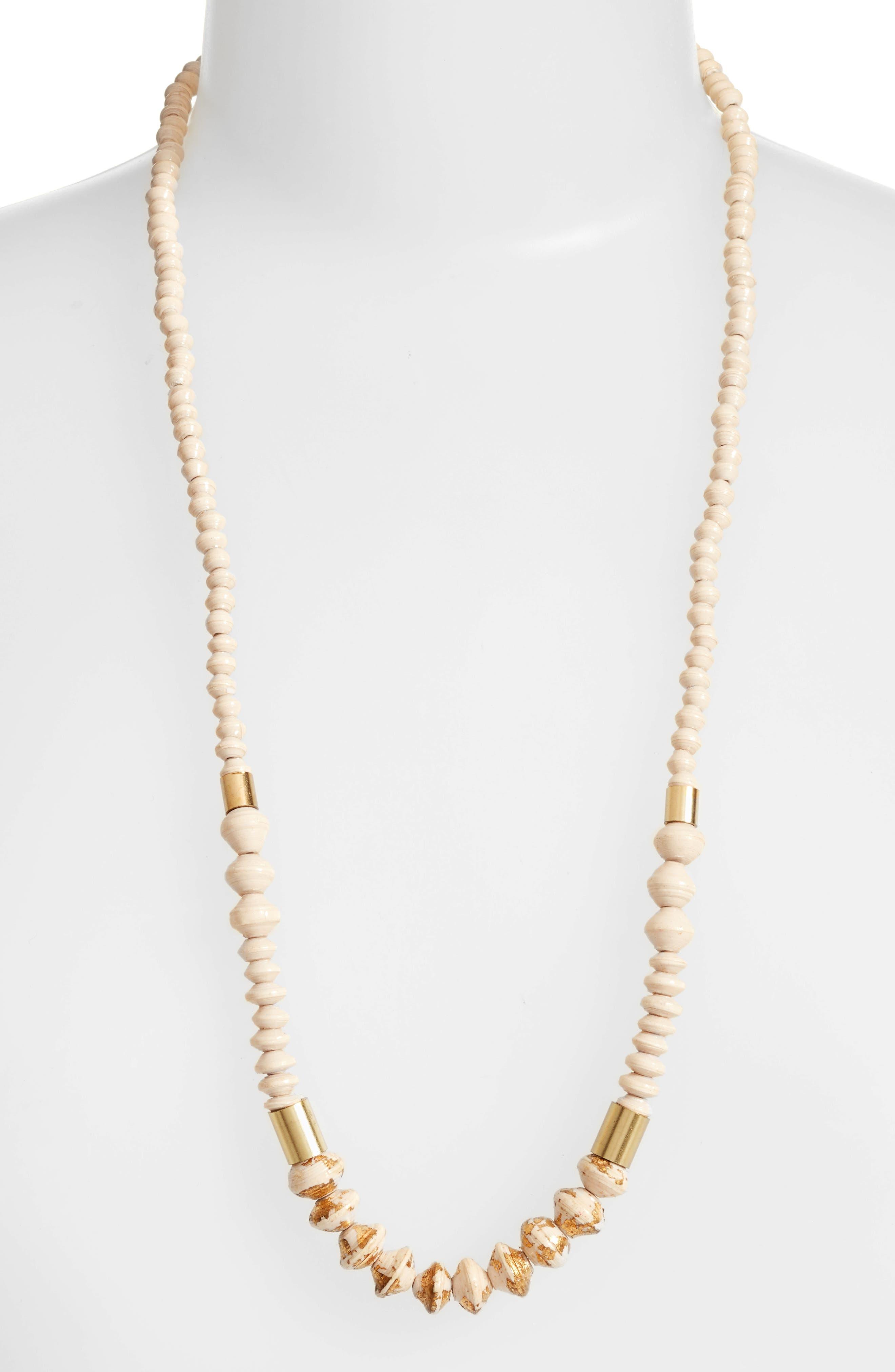 Main Image - 31 Bits Dipped Ribbon Paper Bead Necklace