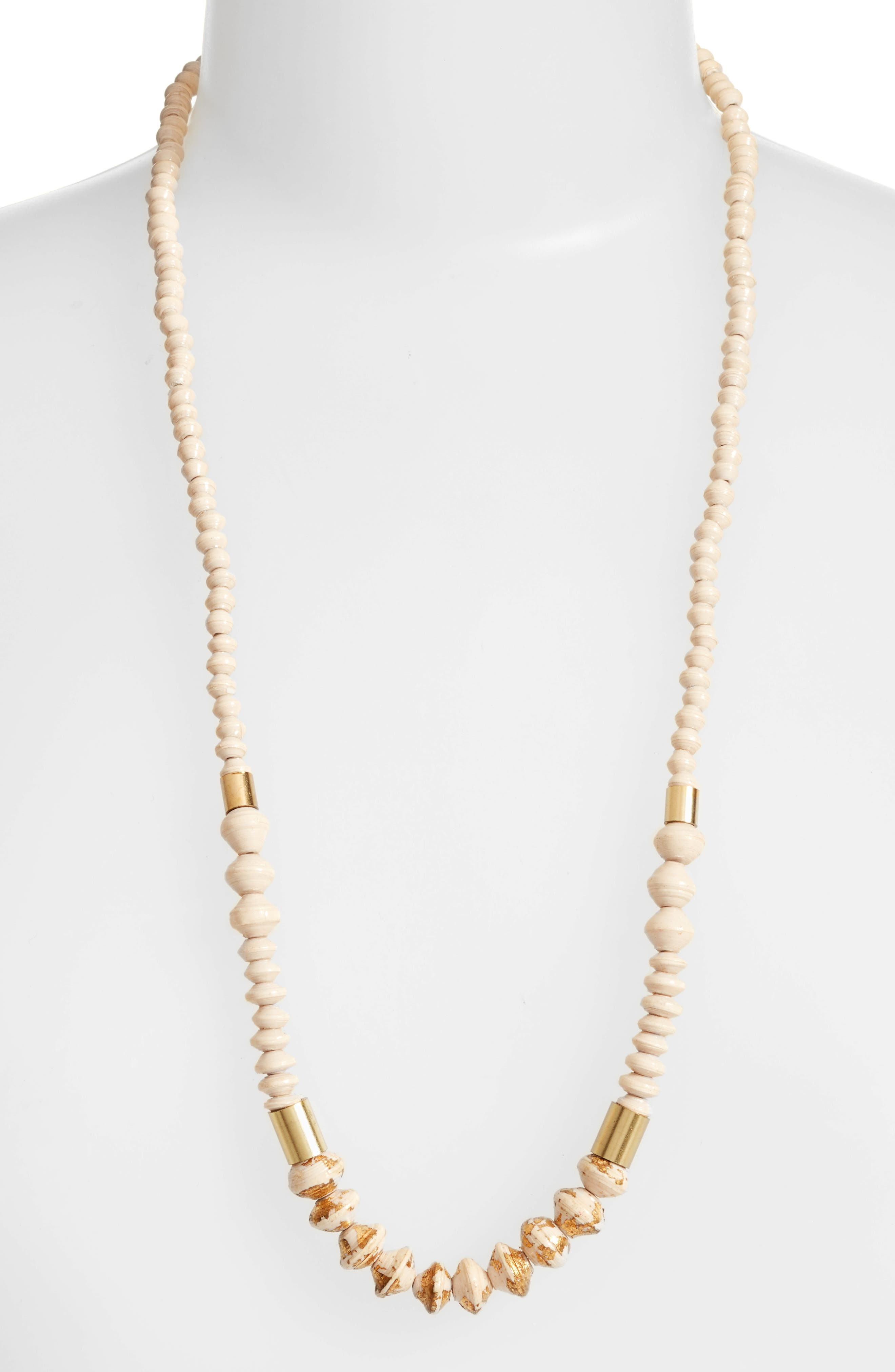 Dipped Ribbon Paper Bead Necklace,                         Main,                         color, Cream/ Gold