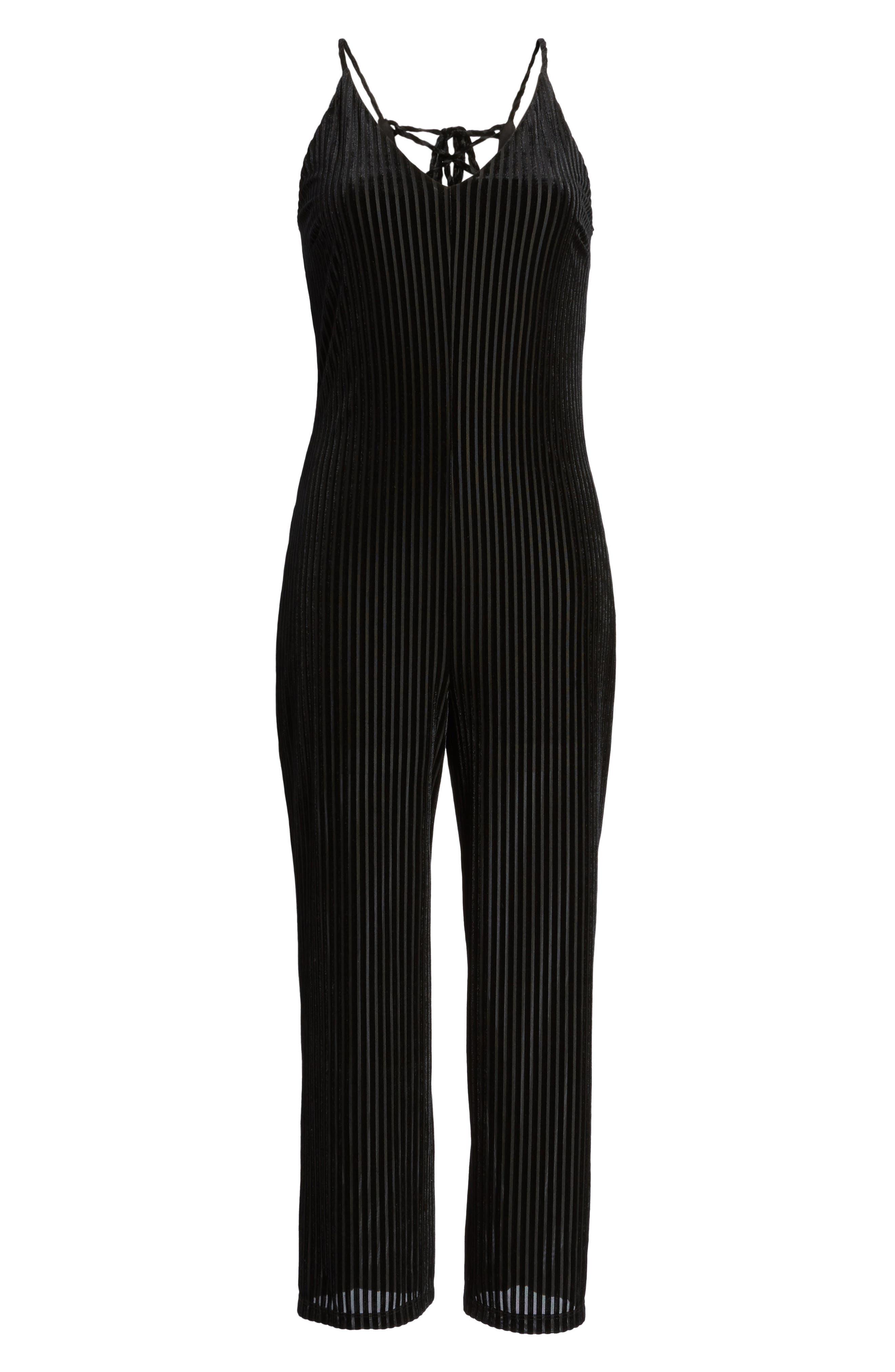 Carmen Velvet Burnout Jumpsuit,                             Alternate thumbnail 8, color,                             Black