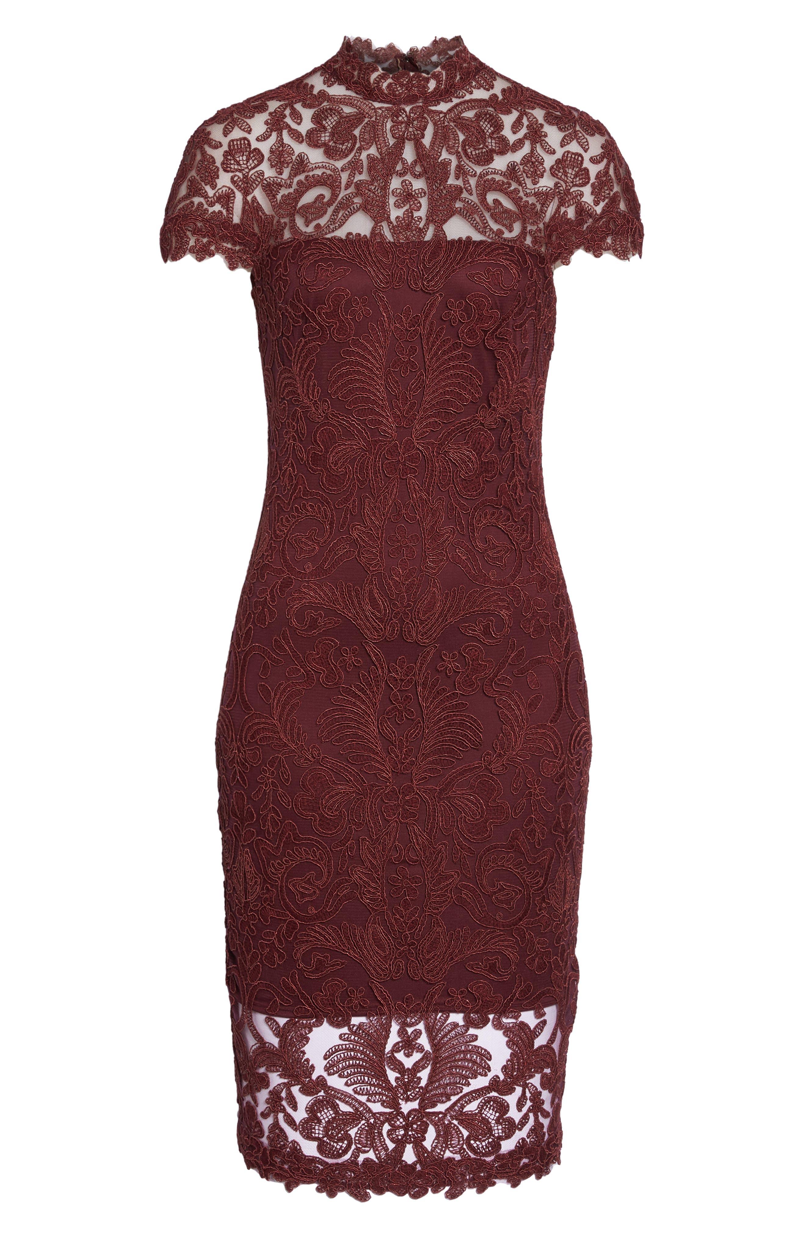 Mock Neck Corded Tulle Sheath Dress,                             Alternate thumbnail 6, color,                             Auburn