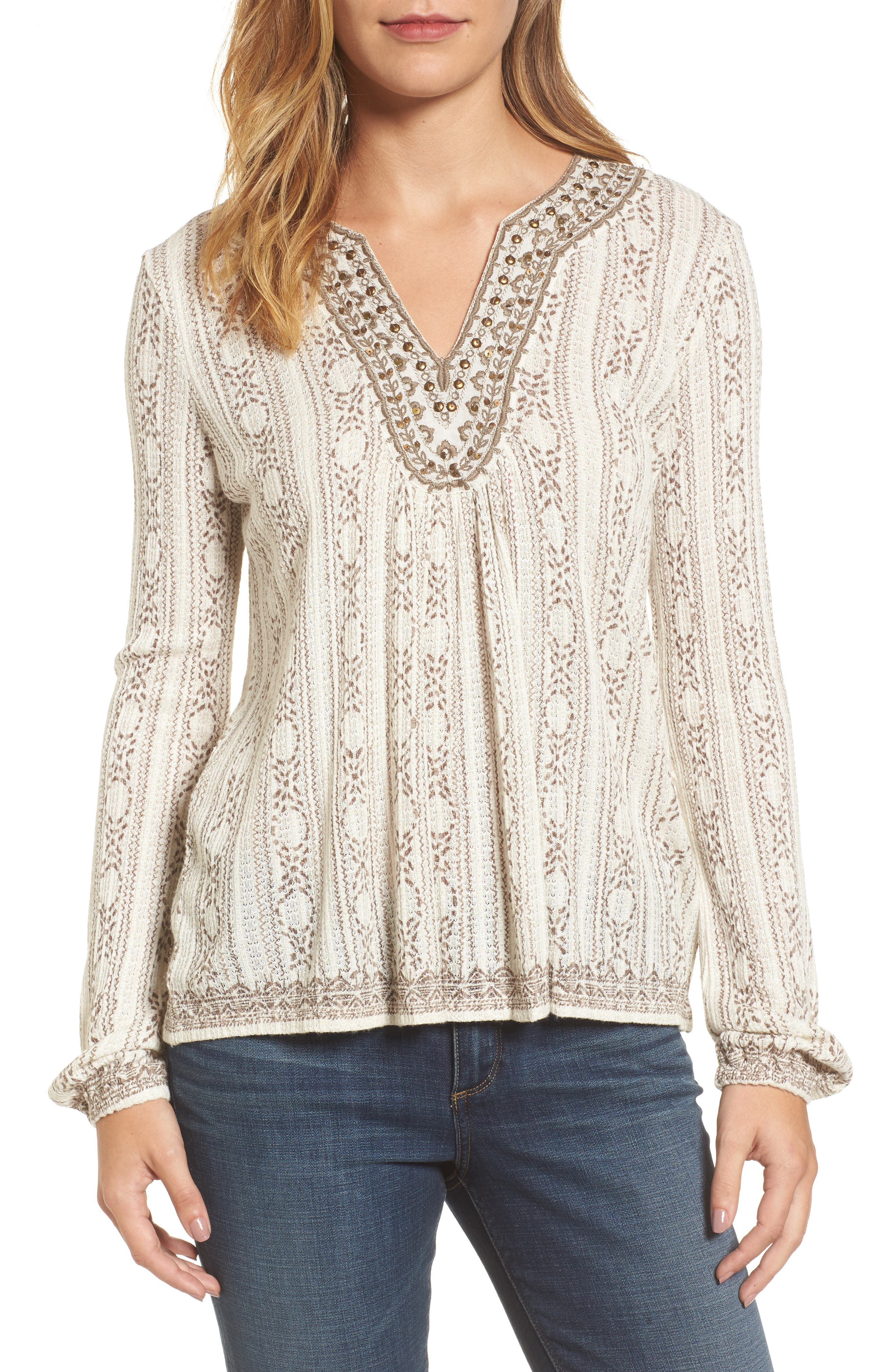 Lucky Brand Embroidered Drop Needle Top