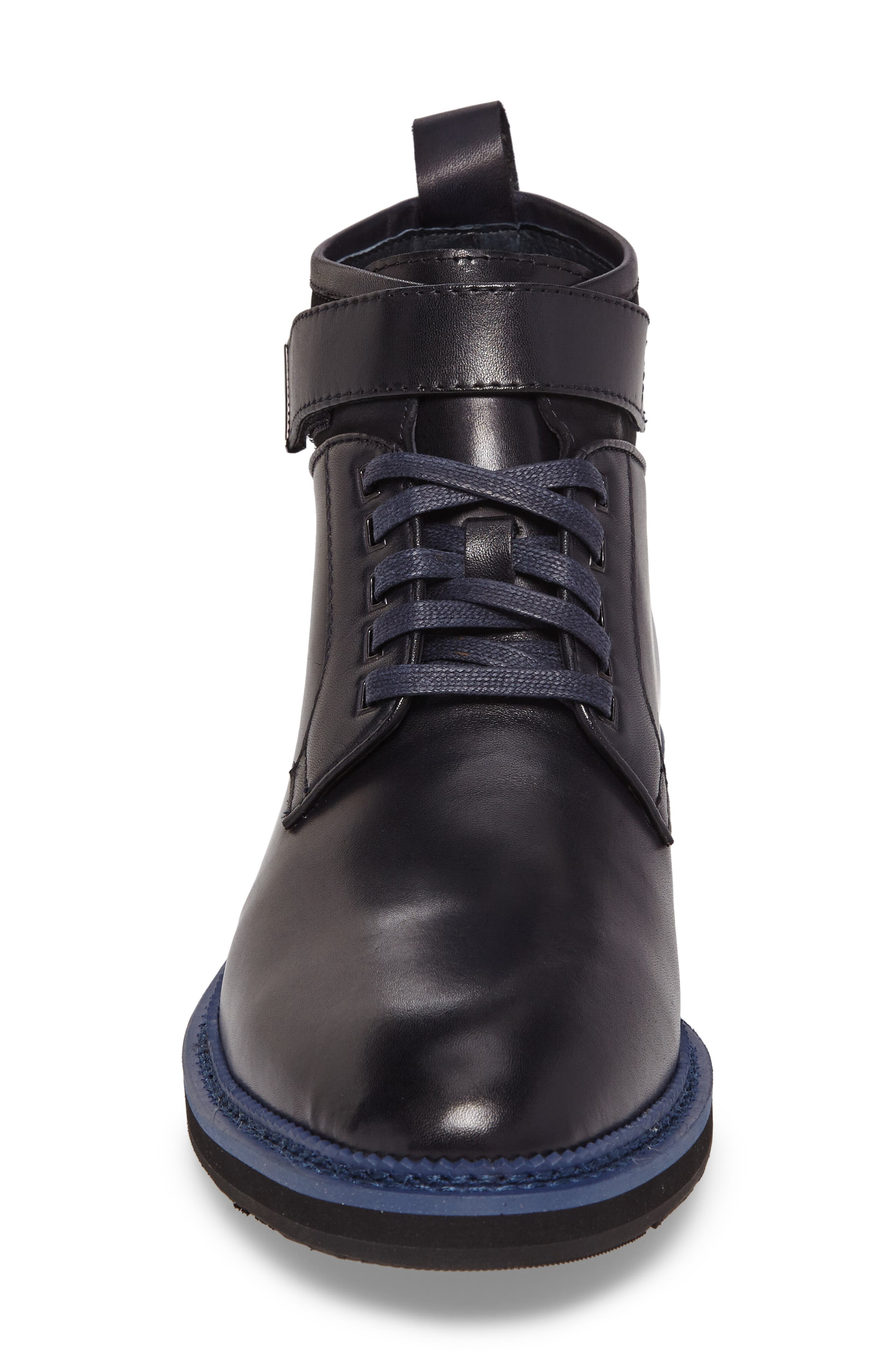Ginko Plain Toe Boot,                             Alternate thumbnail 4, color,                             Navy Leather