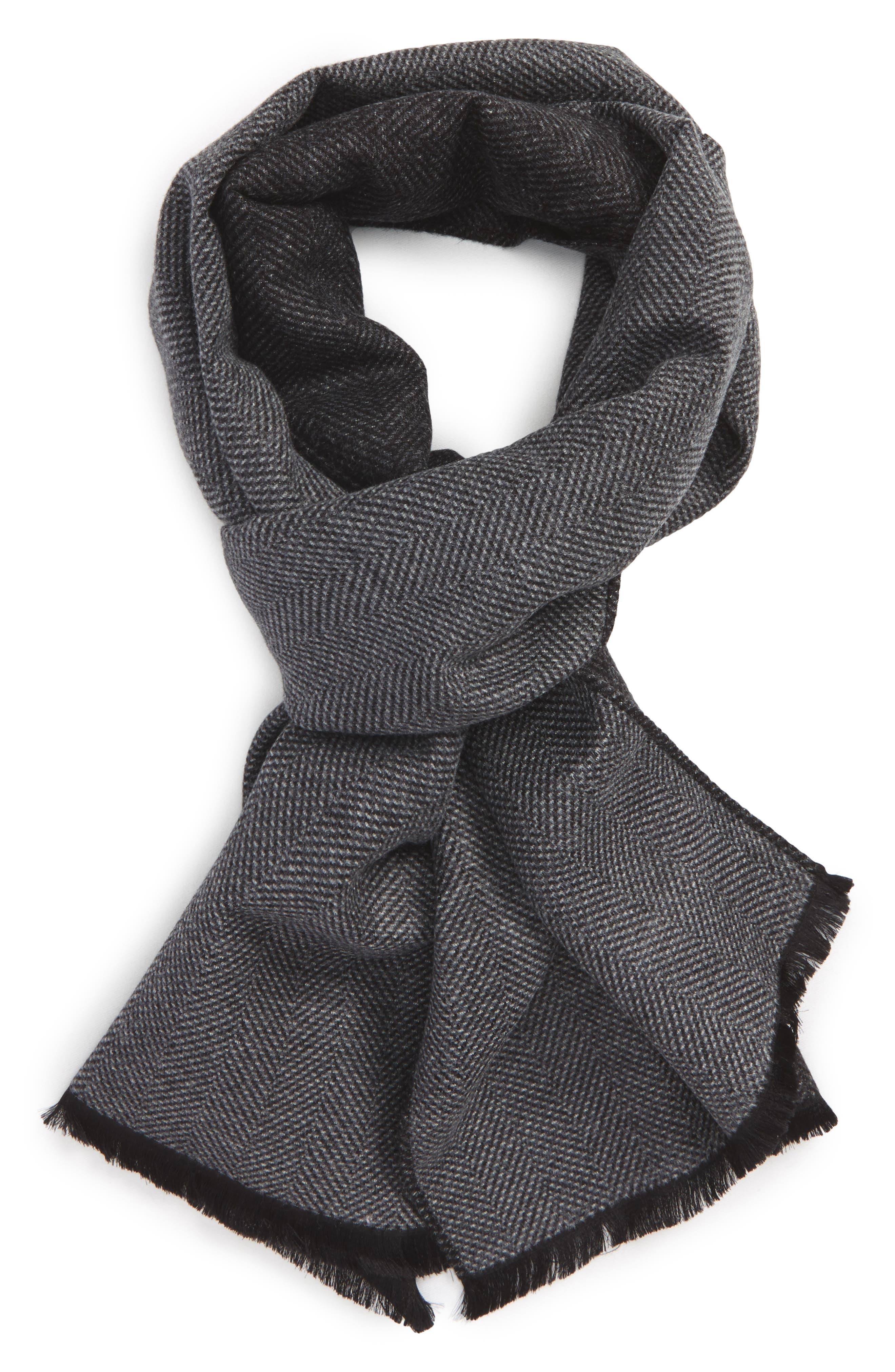 Nordstrom Men's Shop Herringbone Silk Blend Scarf