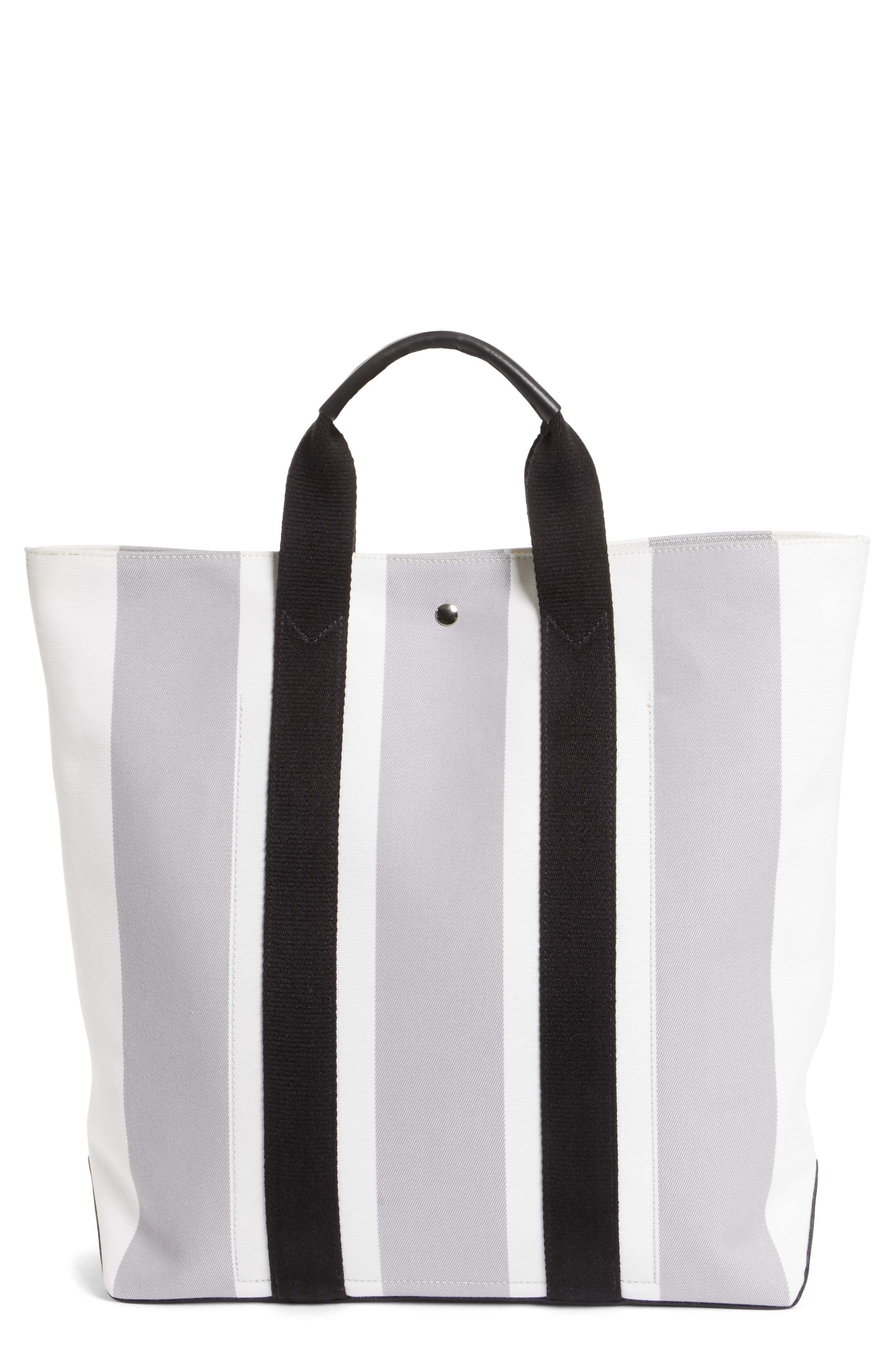 Stripe Canvas Tote,                             Main thumbnail 1, color,                             White/ Grey/ Black