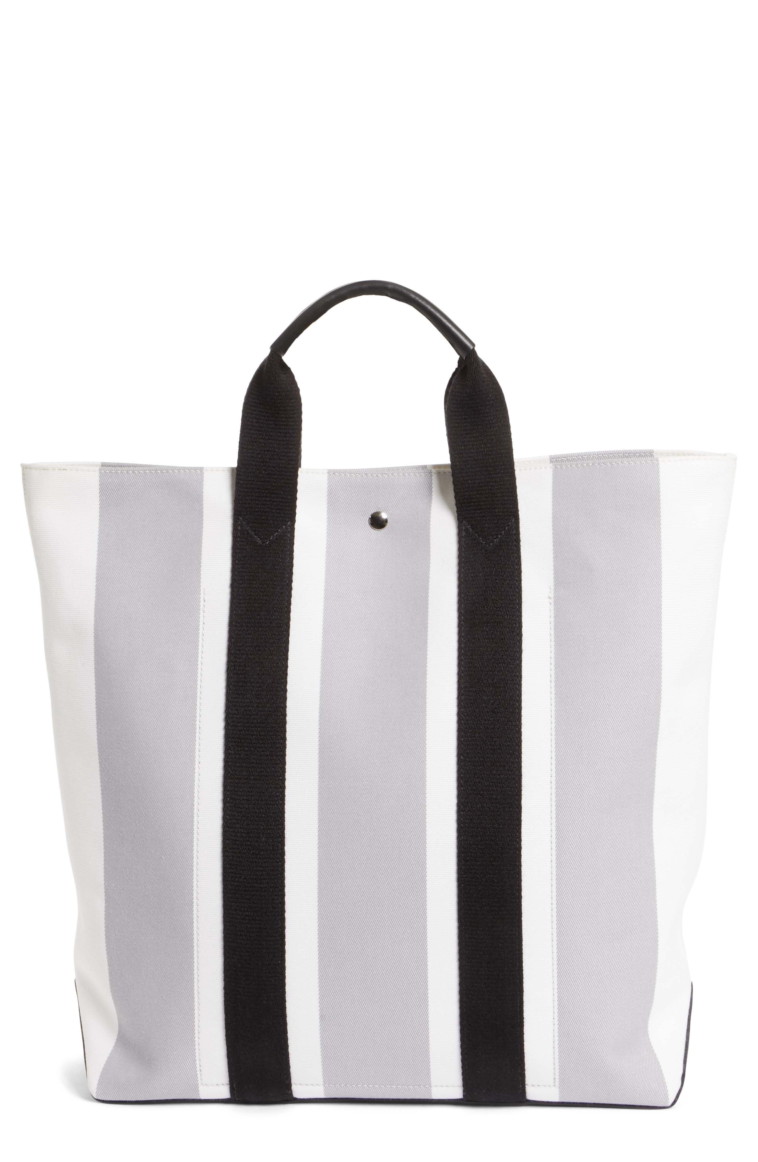 Stripe Canvas Tote,                         Main,                         color, White/ Grey/ Black