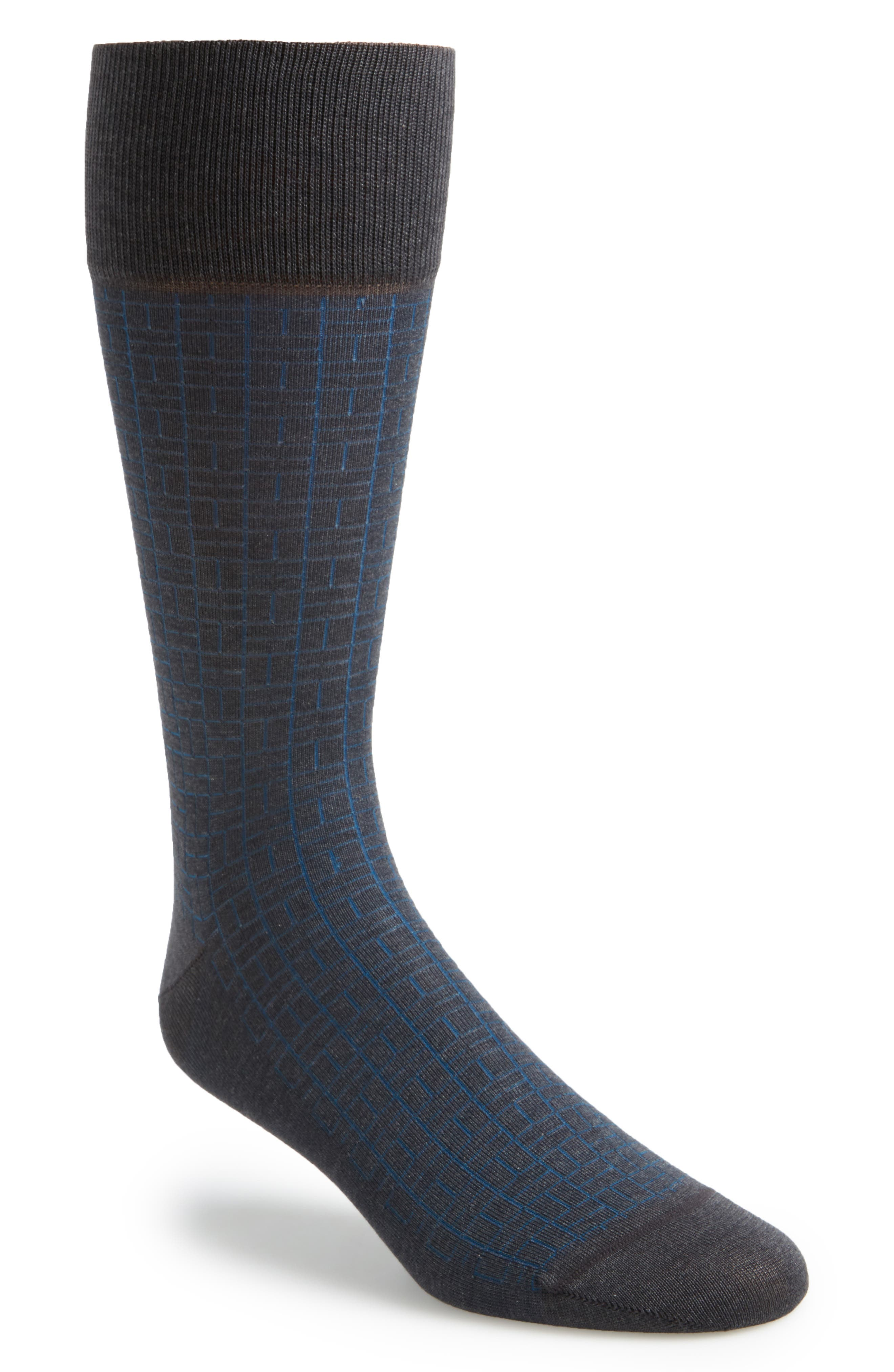 Domino Socks,                             Main thumbnail 1, color,                             Charcoal Heather