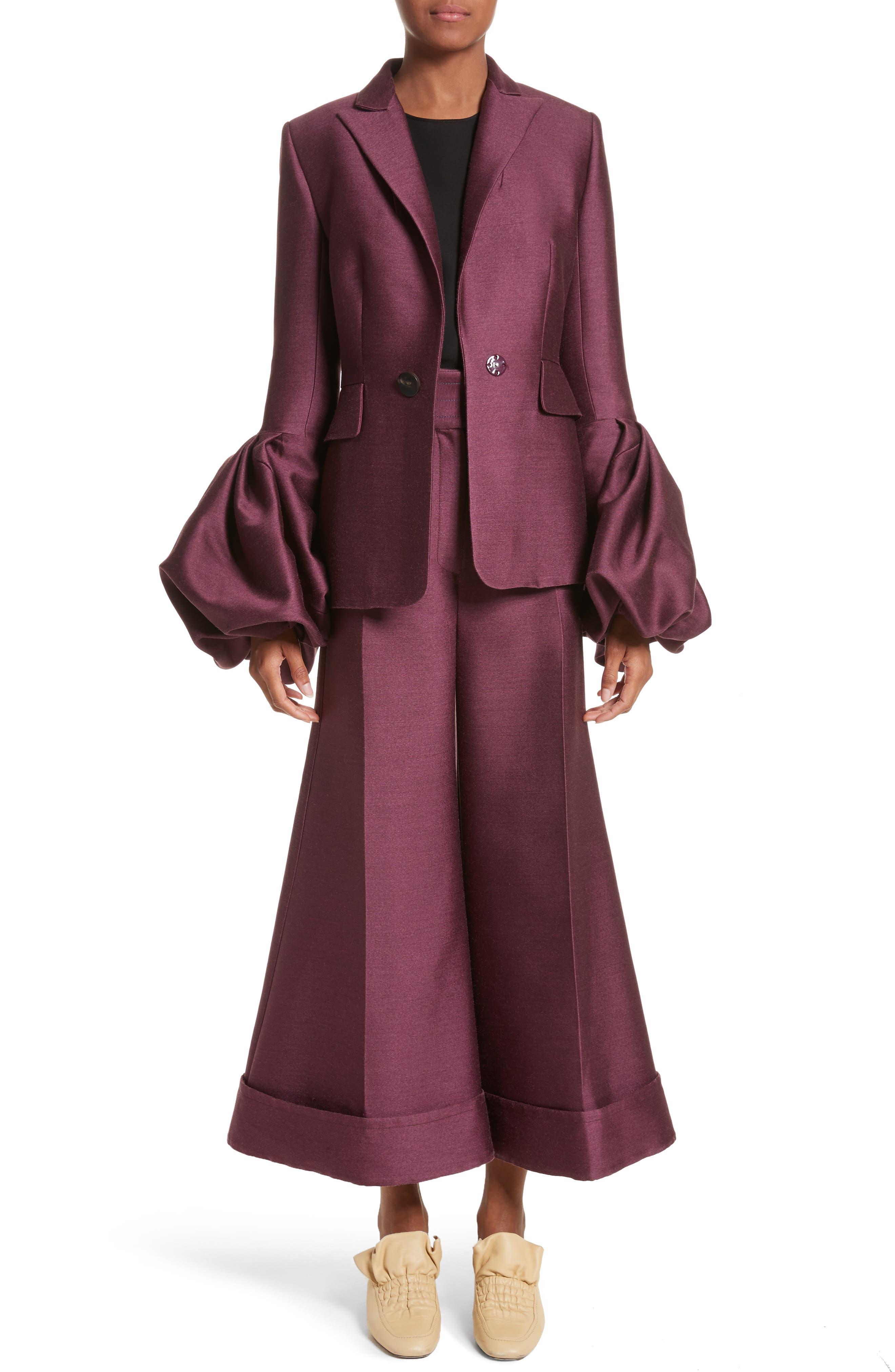 Narika Wool & Silk Jacket,                             Alternate thumbnail 8, color,                             Plum