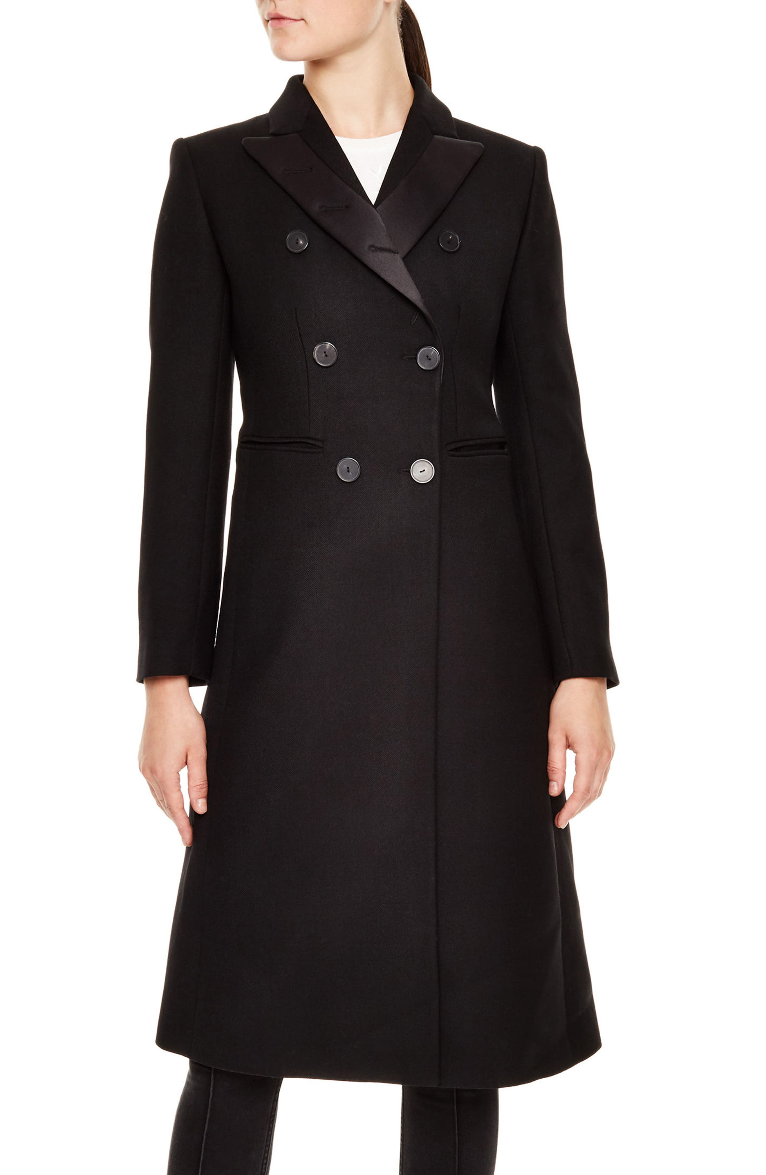 sandro Arcade Double-Breasted Wool Blend Long Coat