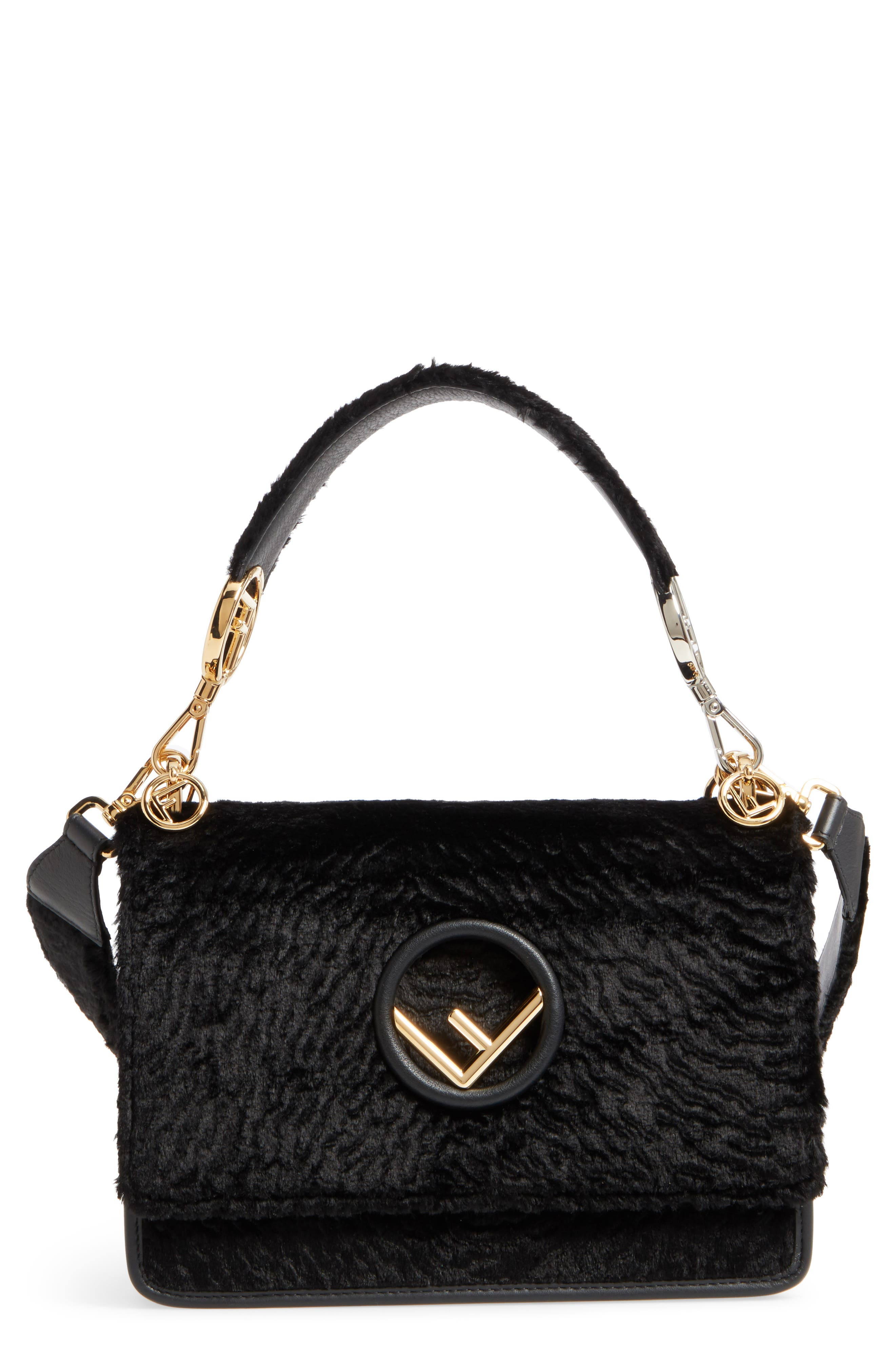 Fendi Kan I Logo Velvet Shoulder Bag