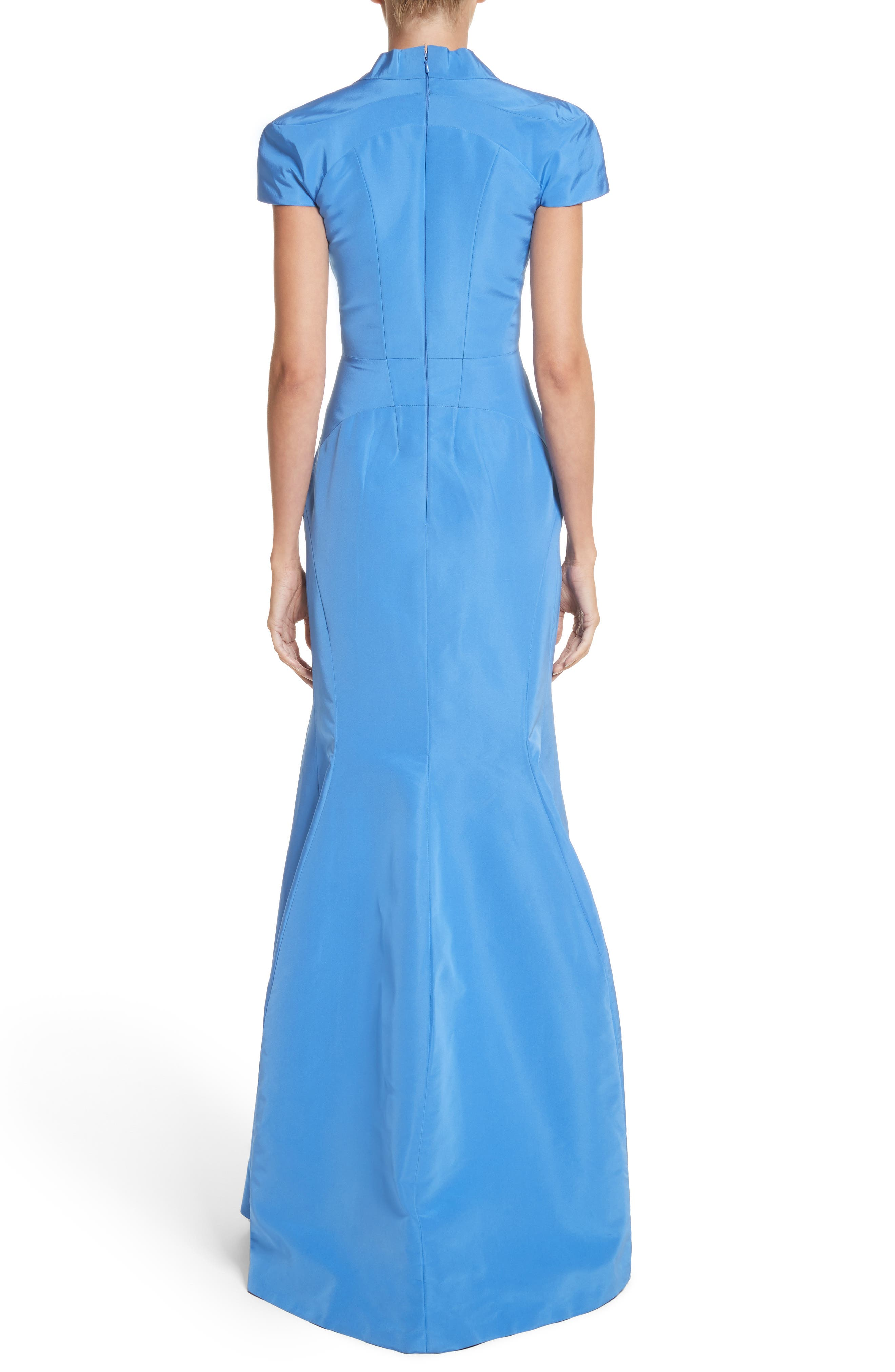 Alternate Image 2  - Zac Posen Silk Faille Short Sleeve Mermaid Gown