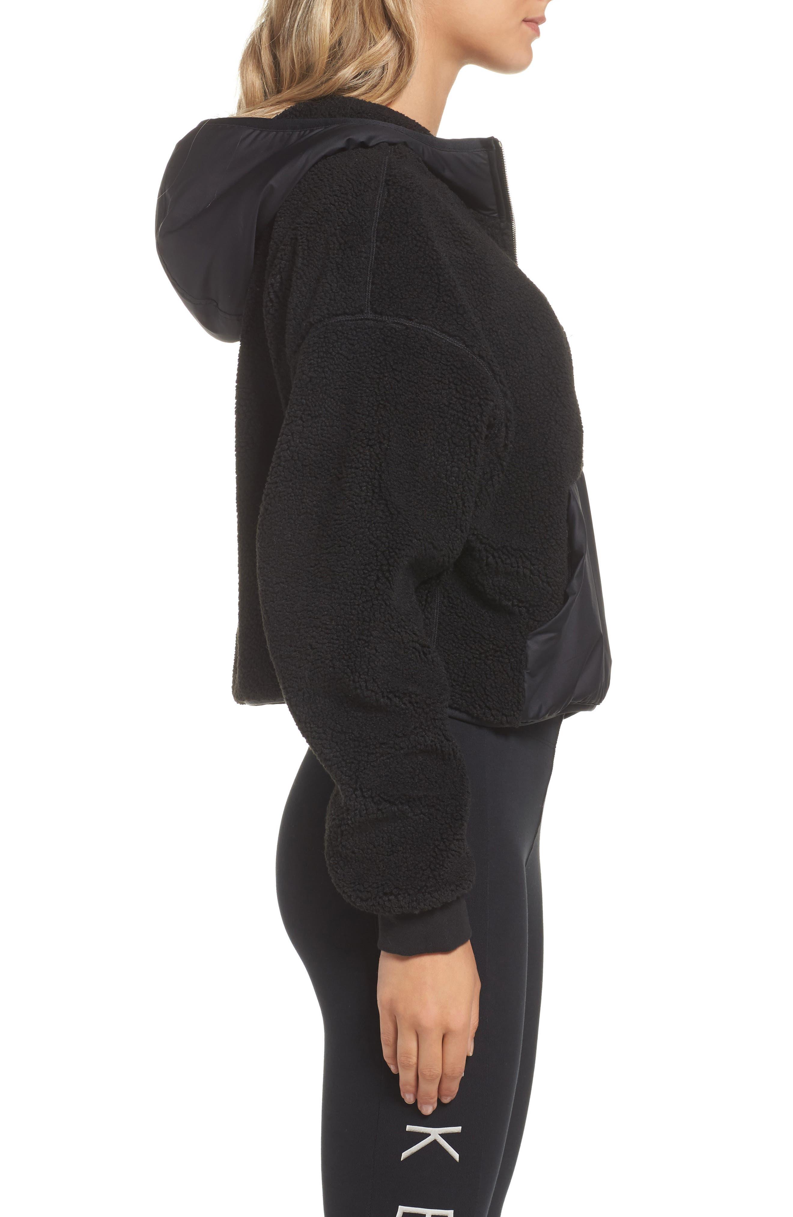 NikeLab Essential Half Zip Fleece Hoodie,                             Alternate thumbnail 3, color,                             Black/ Black