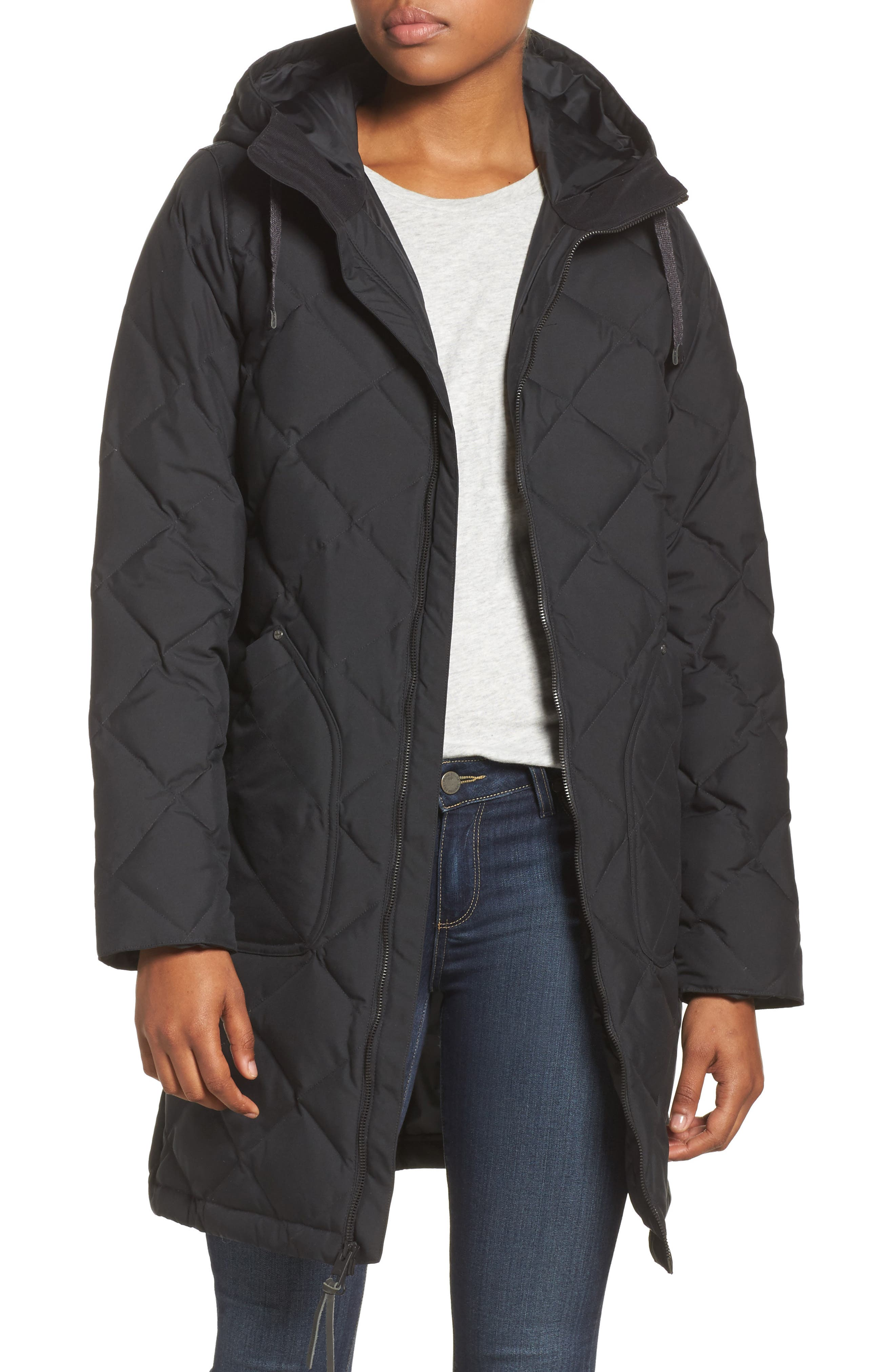 Bixby Long Down Jacket,                         Main,                         color, True Black