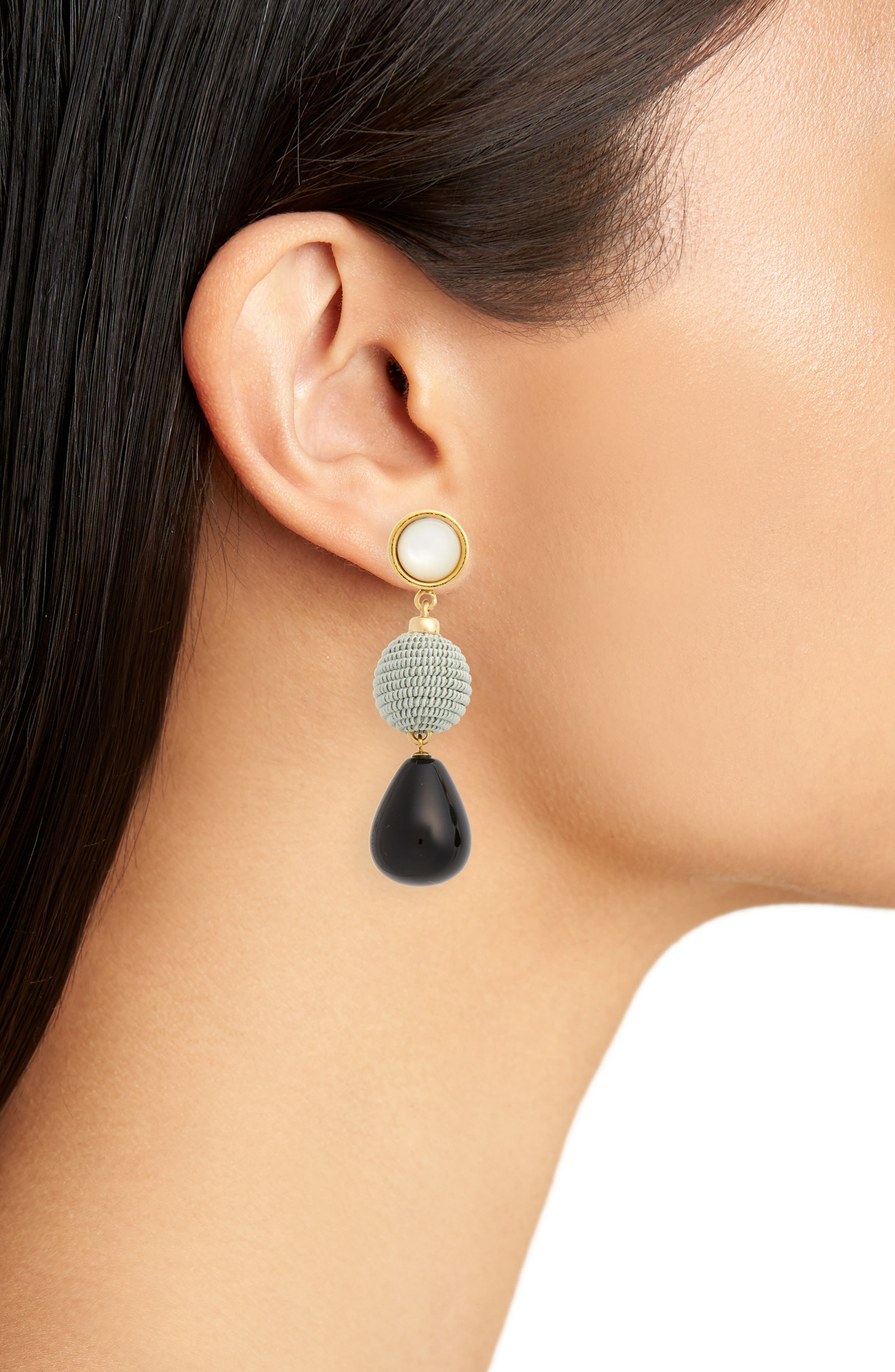 Agate Drop Earrings,                             Alternate thumbnail 2, color,                             Black