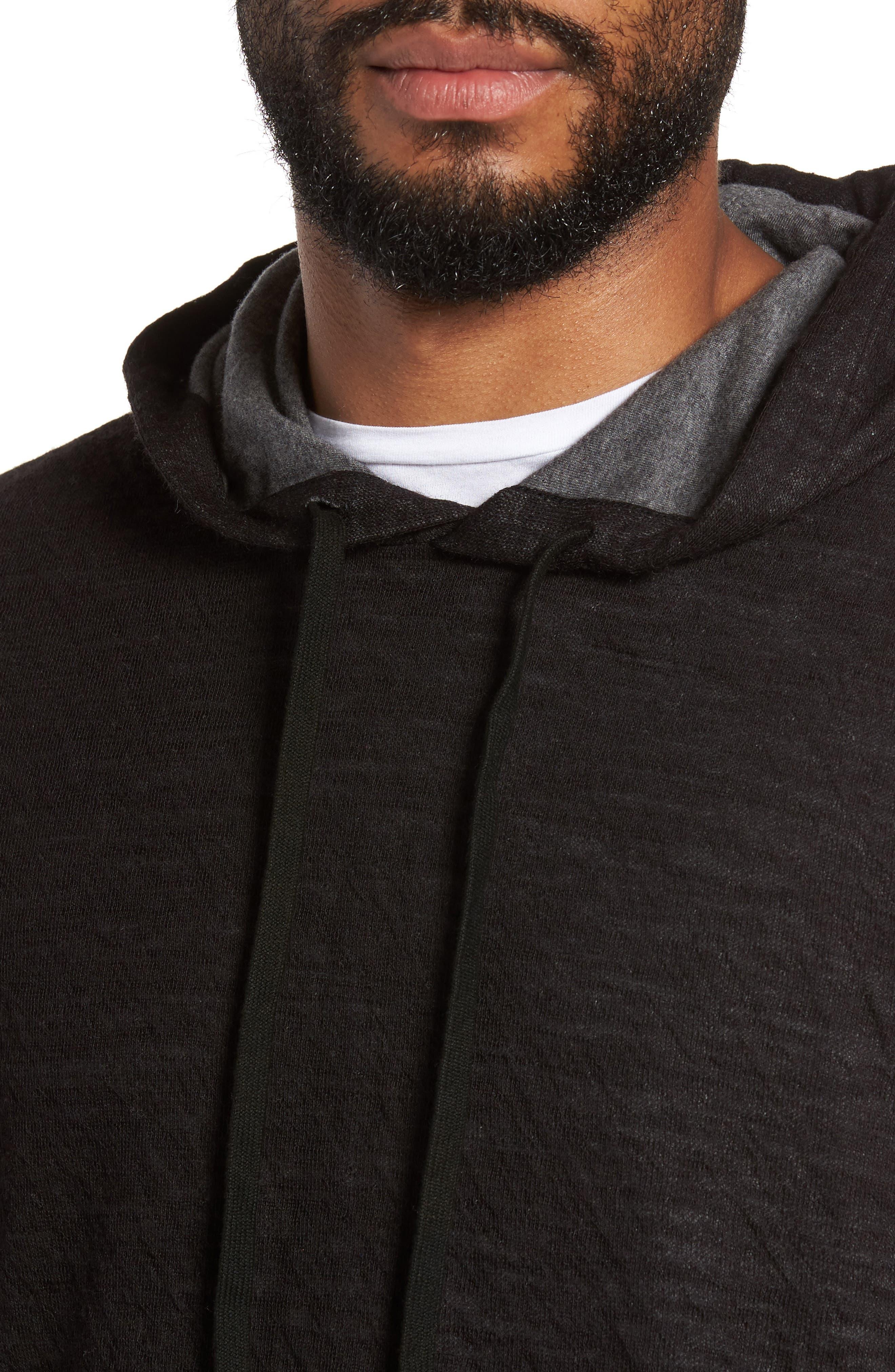 Contrast Double Knit Cotton & Wool Hoodie,                             Alternate thumbnail 4, color,                             Black/ H Carbon
